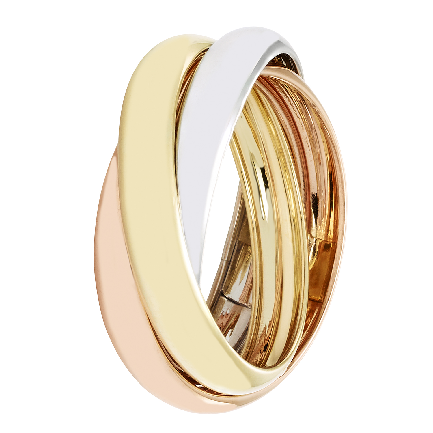 10k Combined 12mm Width Tri Color Rolling Ring - Size 8