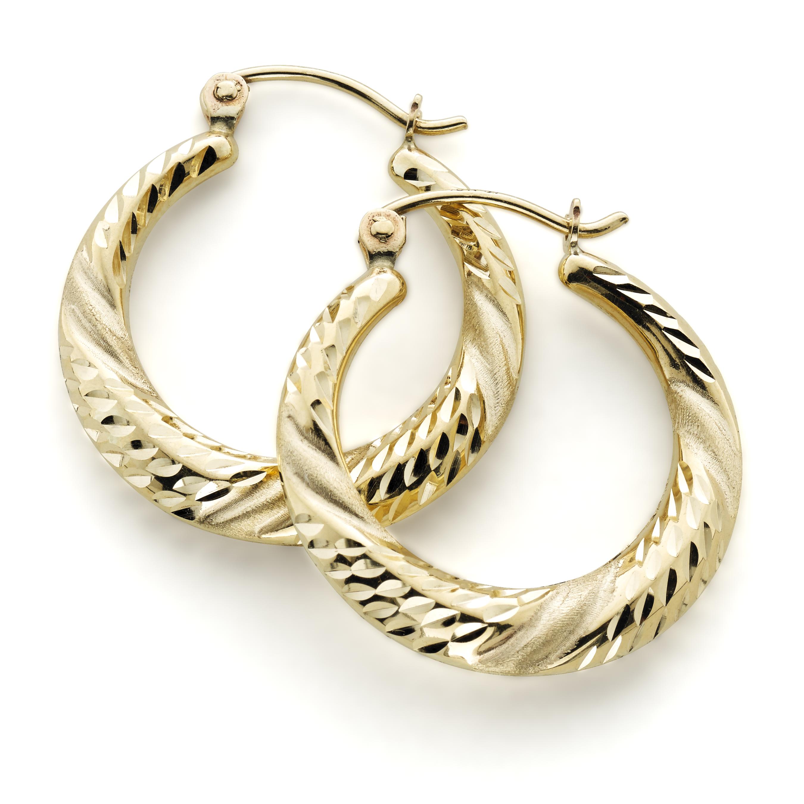 Diamond Cut Hoop Earrings 10k Gold
