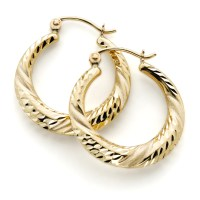 Diamond Cut Hoop Earrings 10k Gold