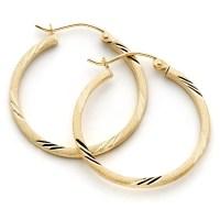 Square 25mm Hoop Earrings 10k Gold
