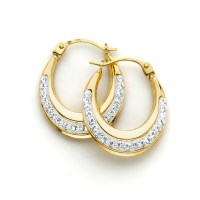 Crystals in Oval Hoop Earrings 10k Gold