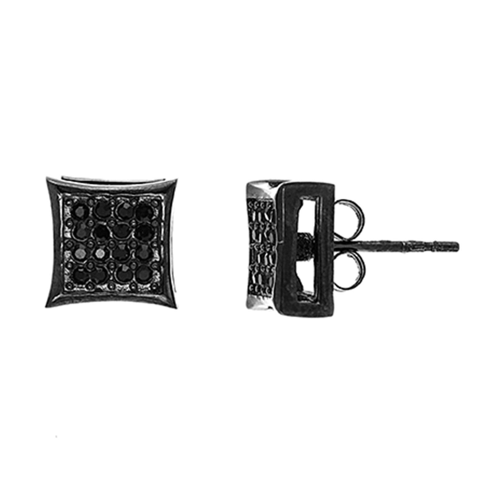 Black Cubic Zirconia Quad Stud Earrings