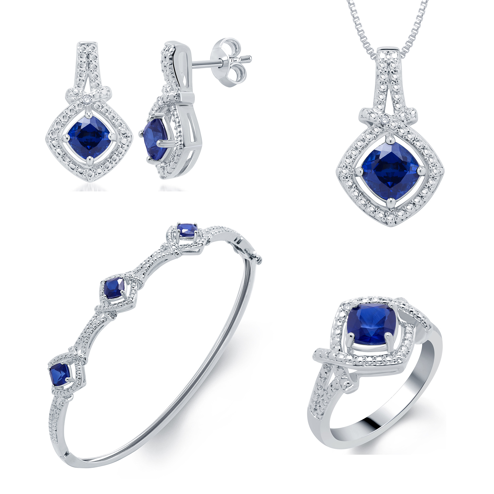 4 Piece Rhodium over Brass Blue Sapphire Earring, Bracelet