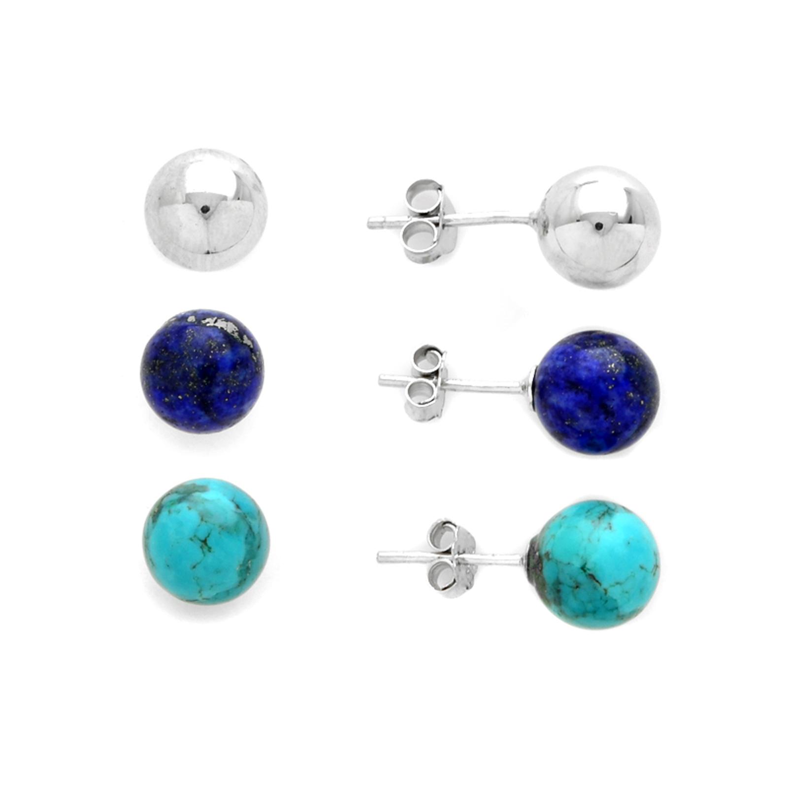 Sterling Silver 3 Pair Earring Set