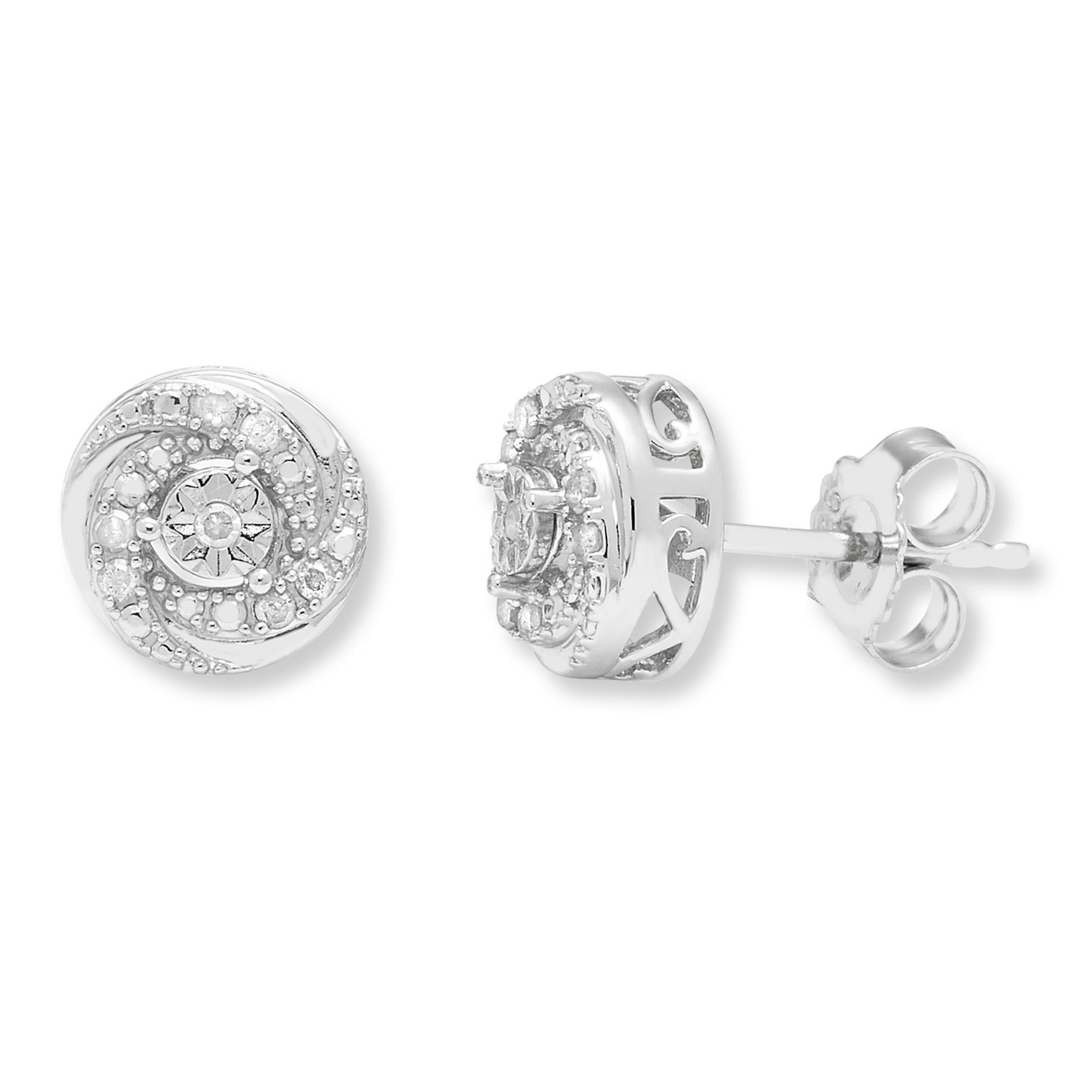 Sterling Silver 1/10 cttw. Diamond Stud Earrings