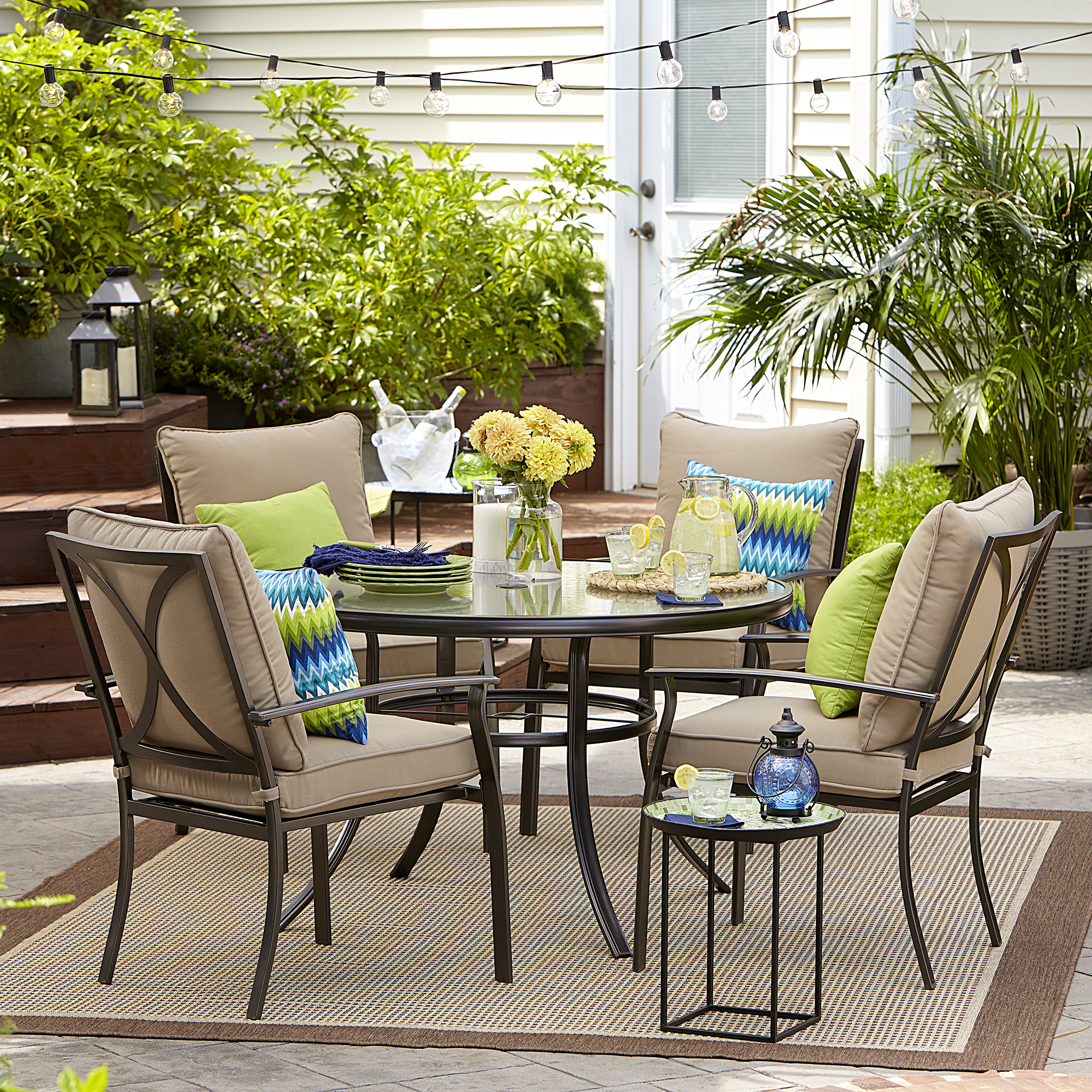 Garden Oasis Harrison 5 Piece Cushion Dining Set - Tan