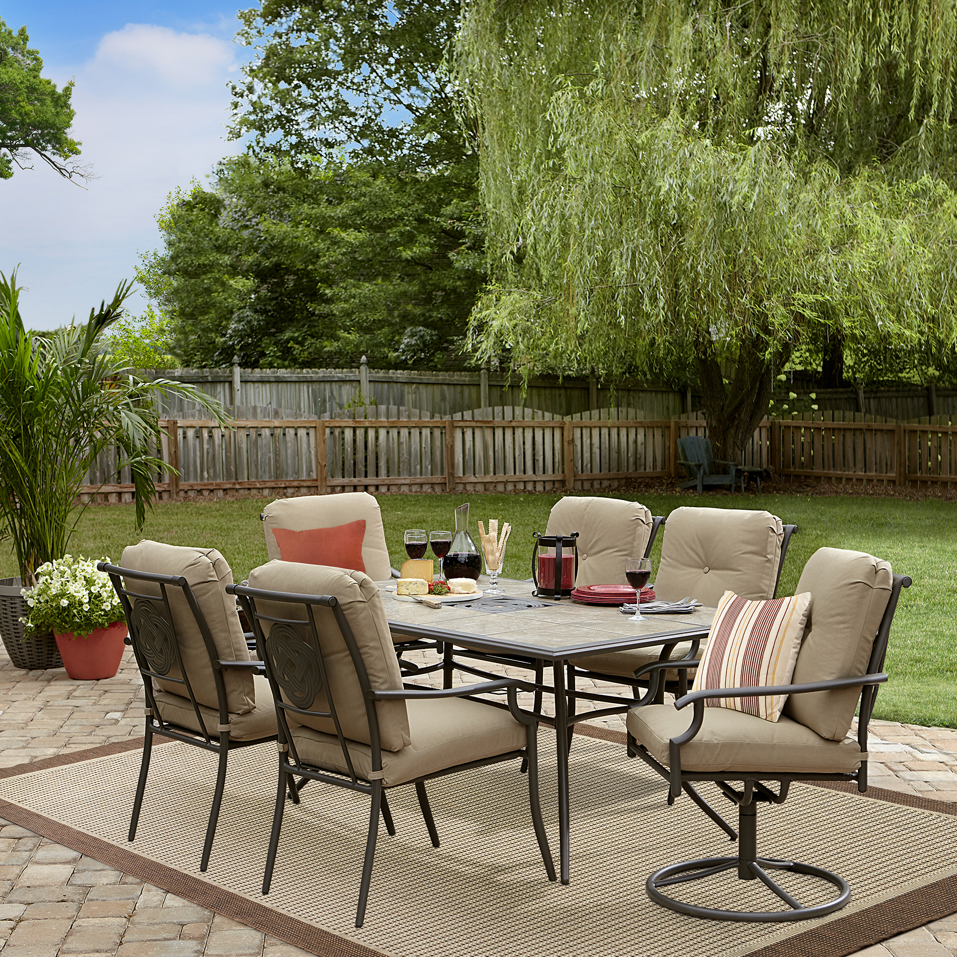 Garden Oasis Brookston 7-piece Dining Set - Stone