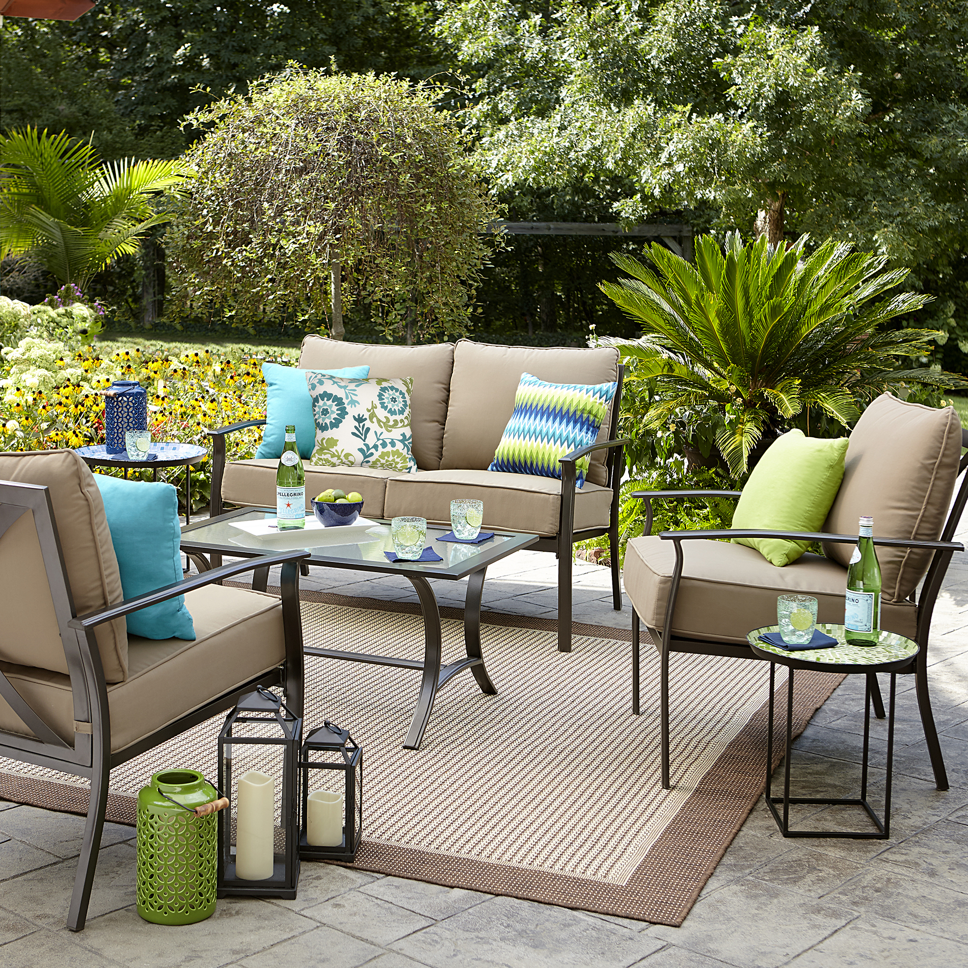 Garden Oasis Harrison 4 Pc. Glass-top Outdoor Seating Set