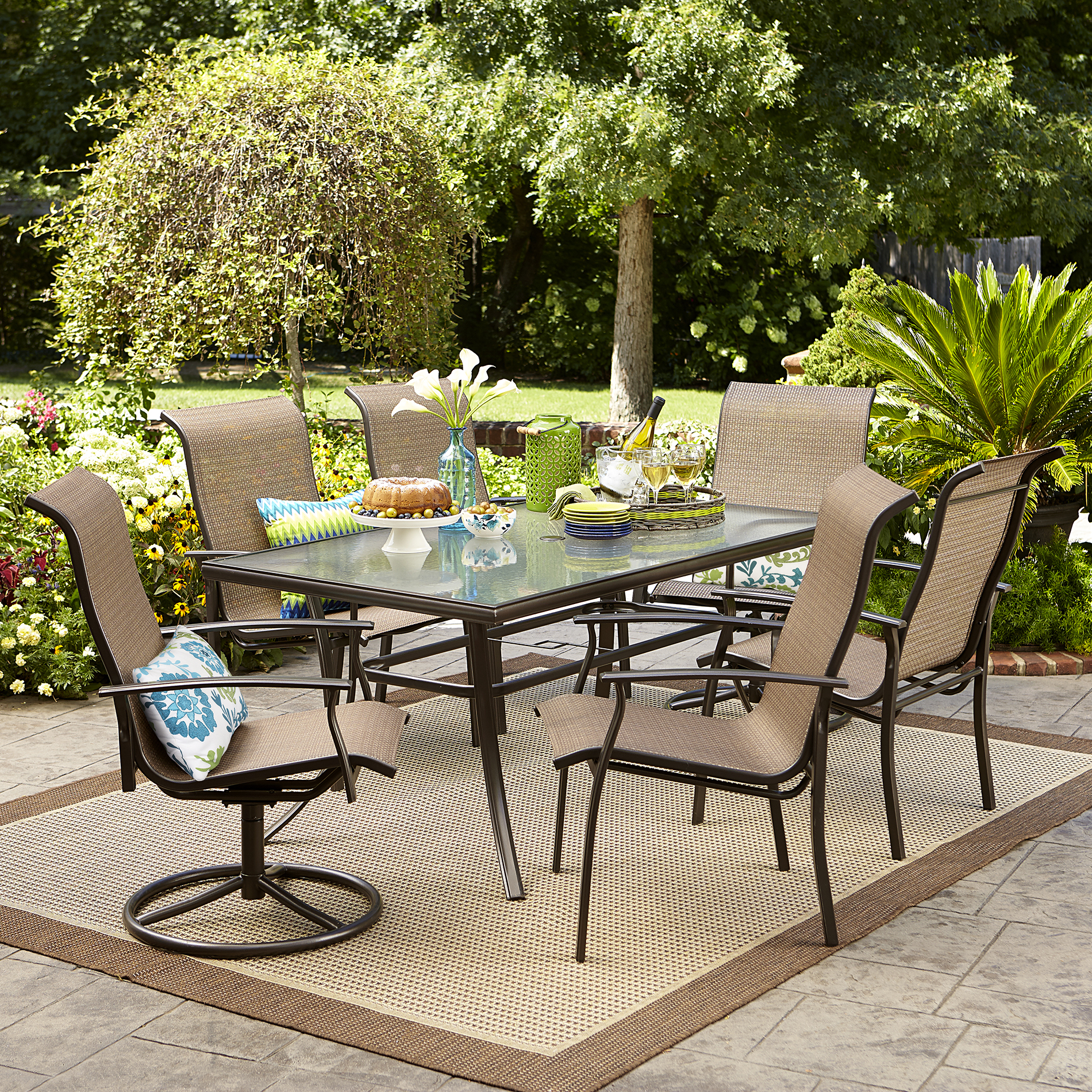 Outdoor Chair Set Garden Oasis Harrison 7 Pc Textured Glass Top Dining Set