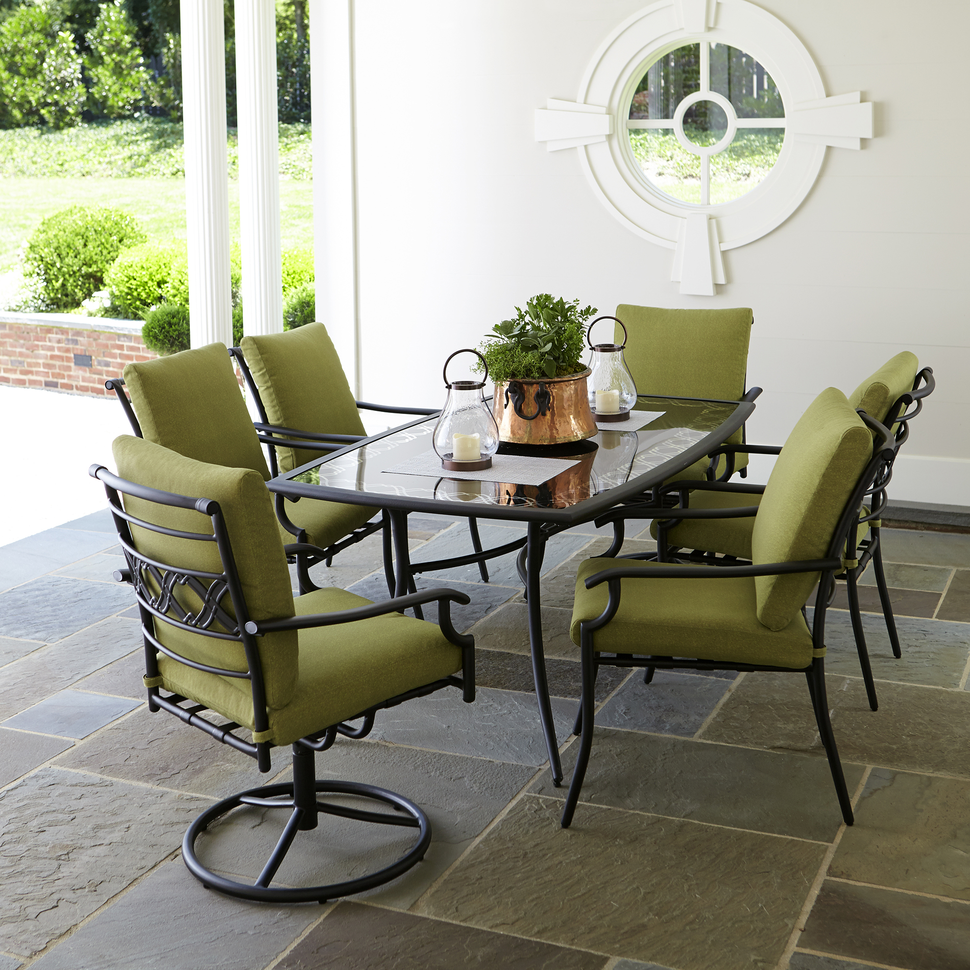 Garden Oasis Rockford 7pc Dining Set-green