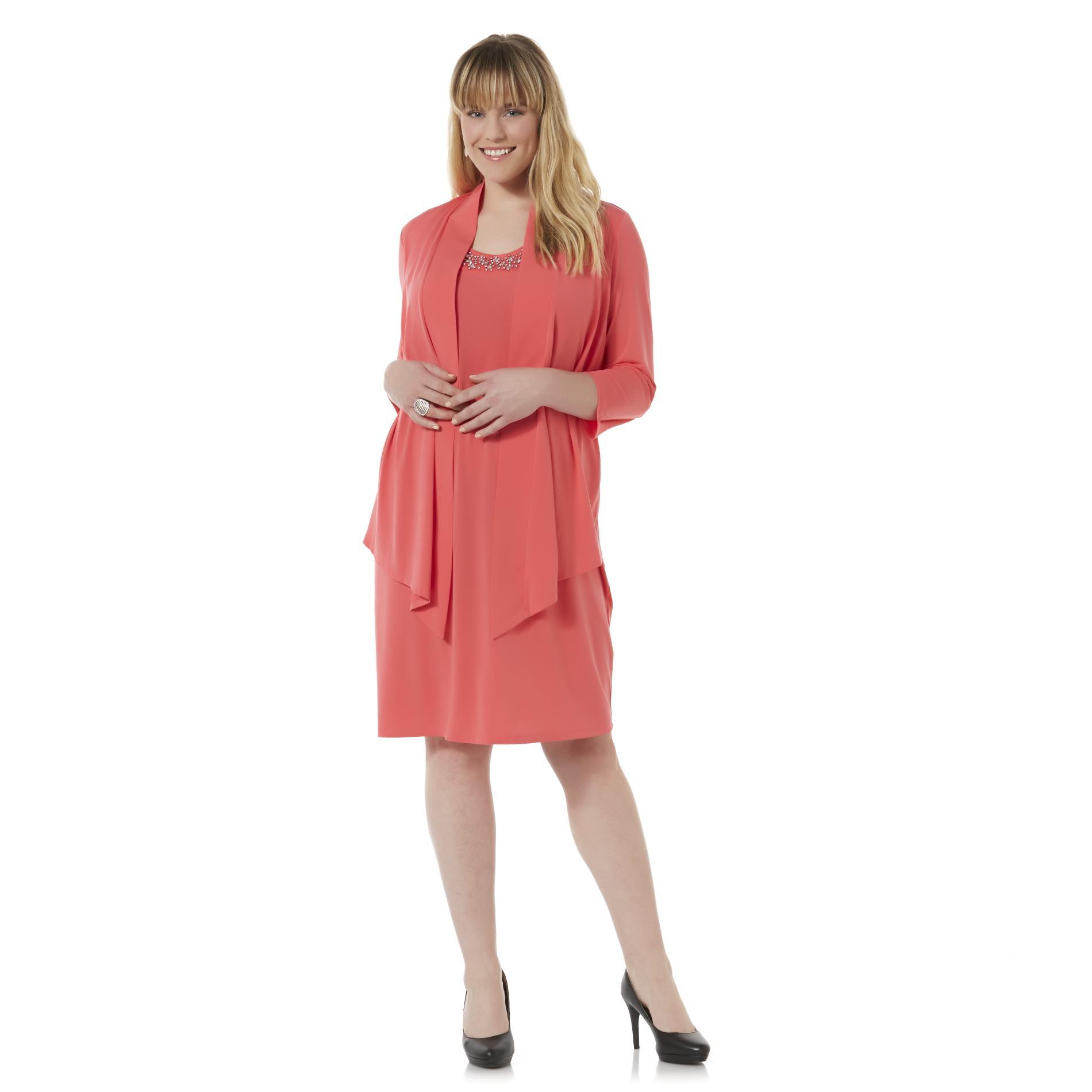 Covington Women39s Plus Mock Jacket Dress