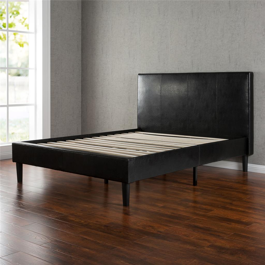 Night Therapy Faux Leather Platform Bed With Slats Queen