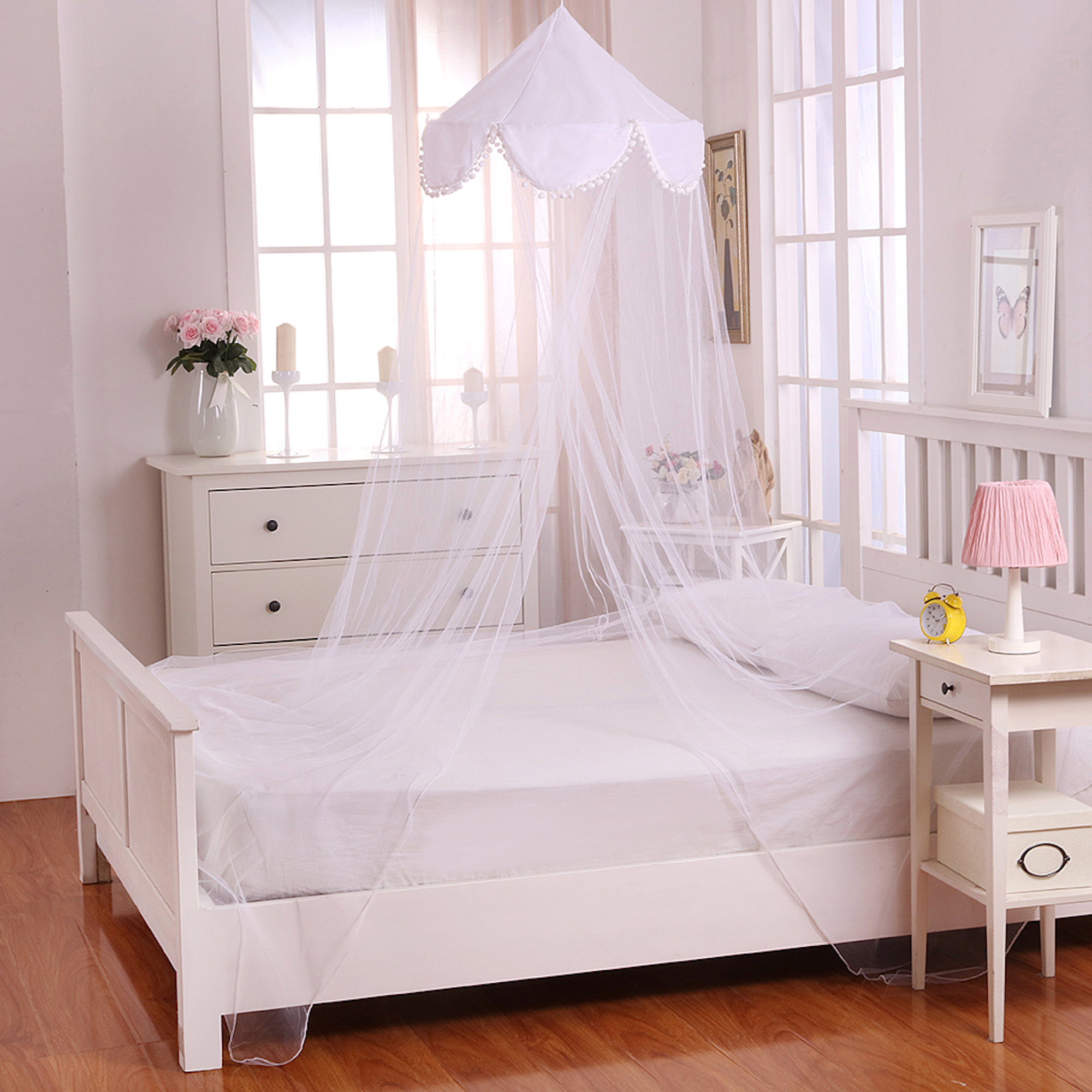 Casablanca Pom Collapsible Hoop Sheer Bed Canopy White