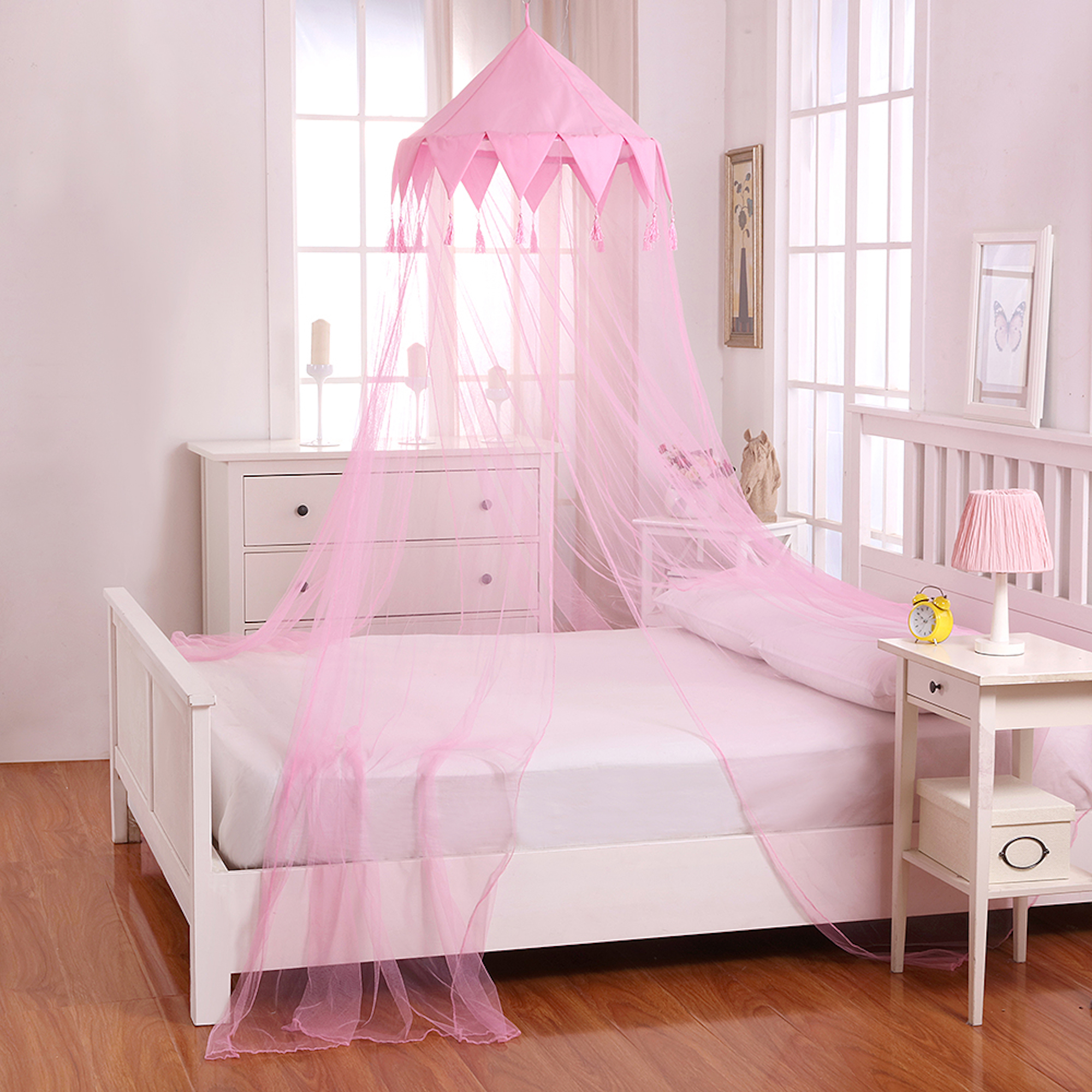Casablanca Harlequin Collapsible Hoop Sheer Bed Canopy Pink