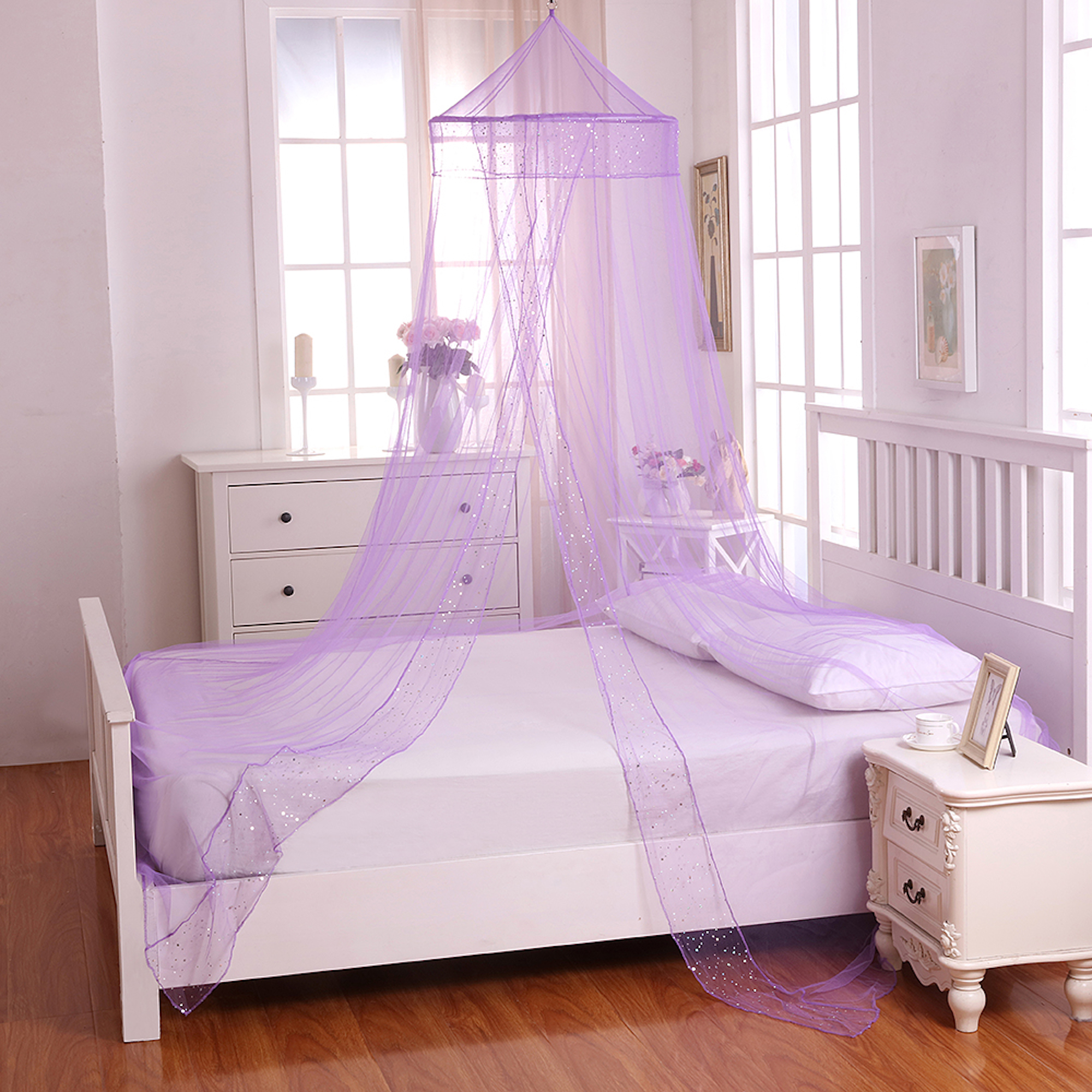Casablanca Galaxy Collapsible Hoop Sheer Bed Canopy Purple