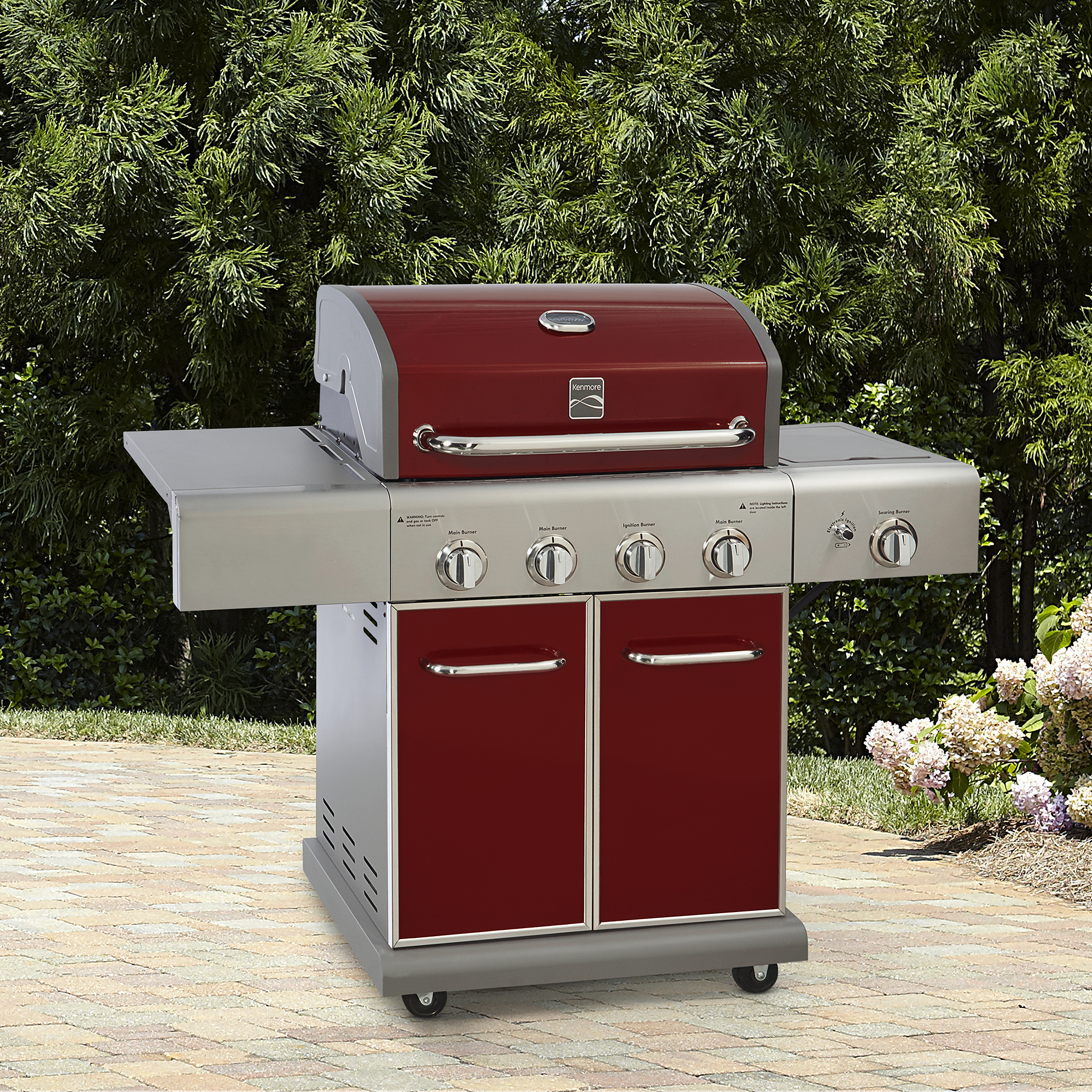 Kenmore 4 Burner Lp Red Gas Grill With Searing Side