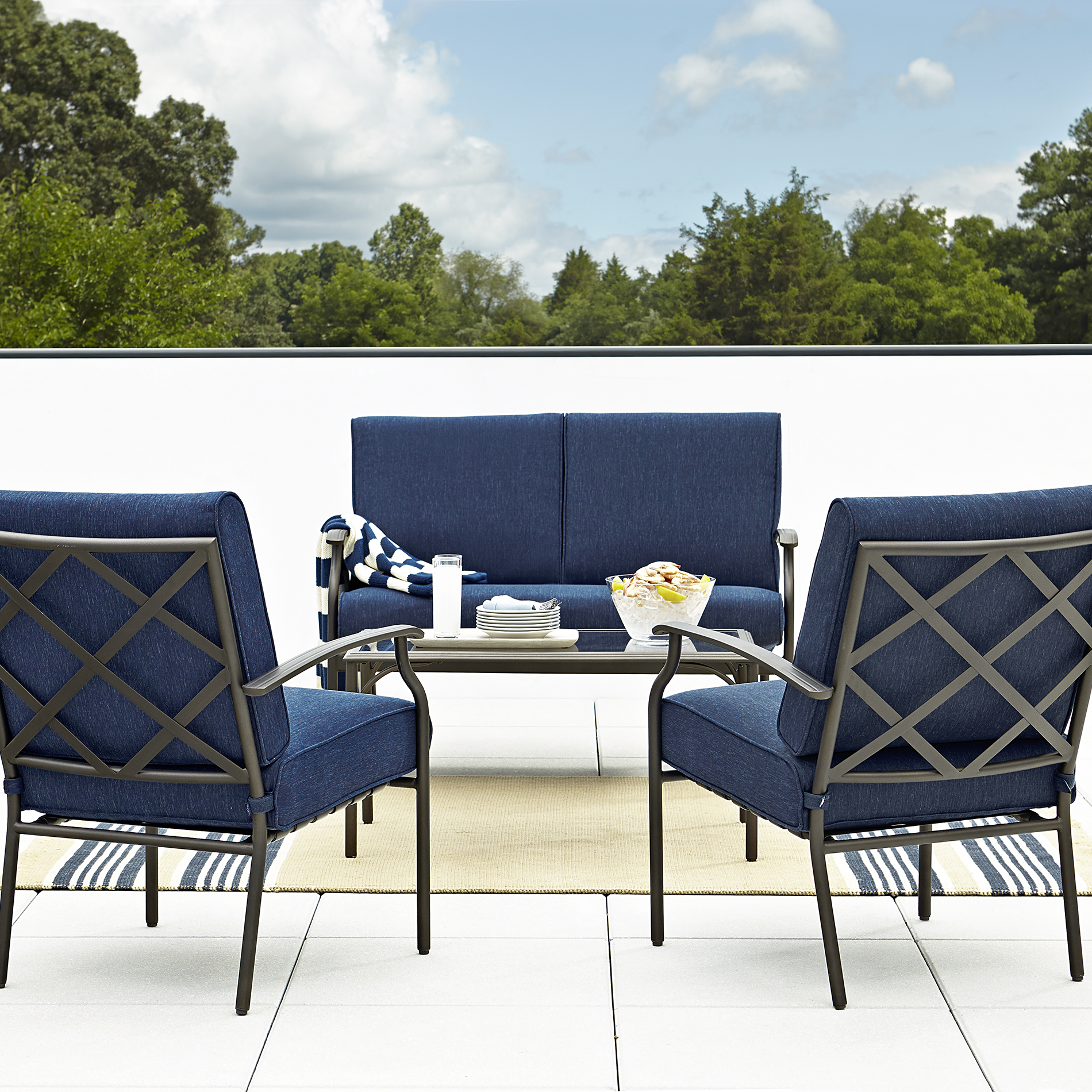 Grand Resort Fairfax 4pc Seating Set- Blue Olefin