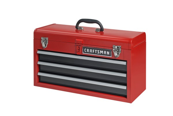 Craftsman Portable 3 Drawer Steel Tool Box Red Storage Cabinet Chest