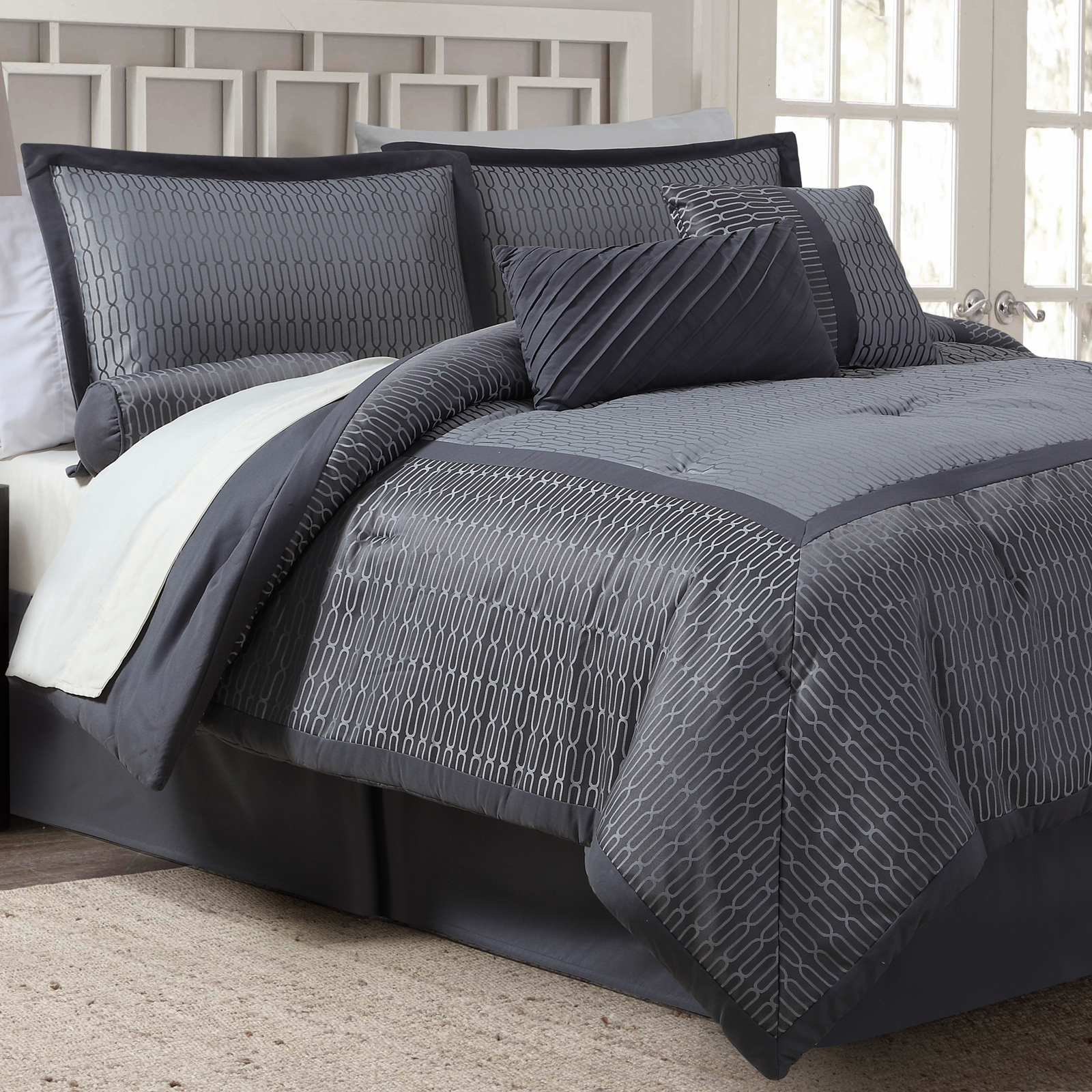 7 Piece Jacquard Comforter Set Gray Grid