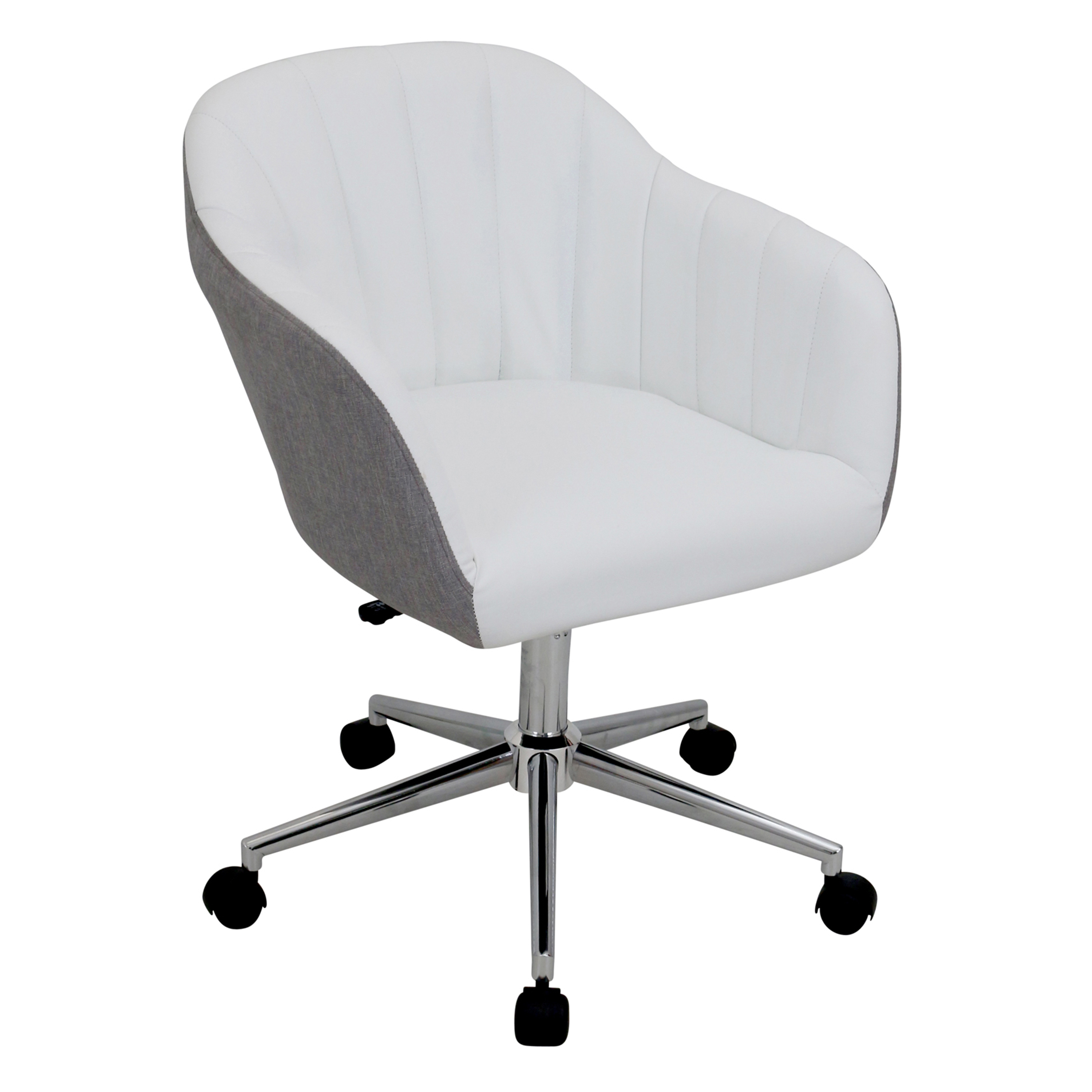 grey fabric swivel office chair kids character chairs lumisource shelton modern in and white