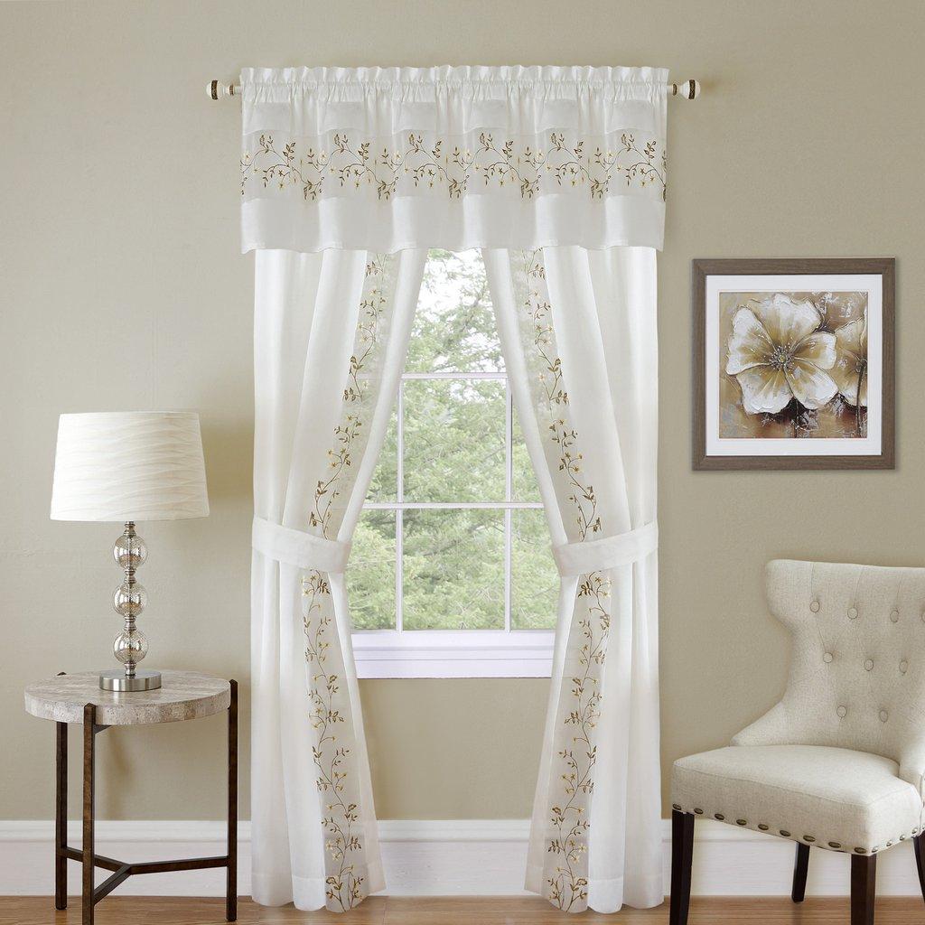 Achim Fairfield 5 Piece Window Curtain Set  55x84  White