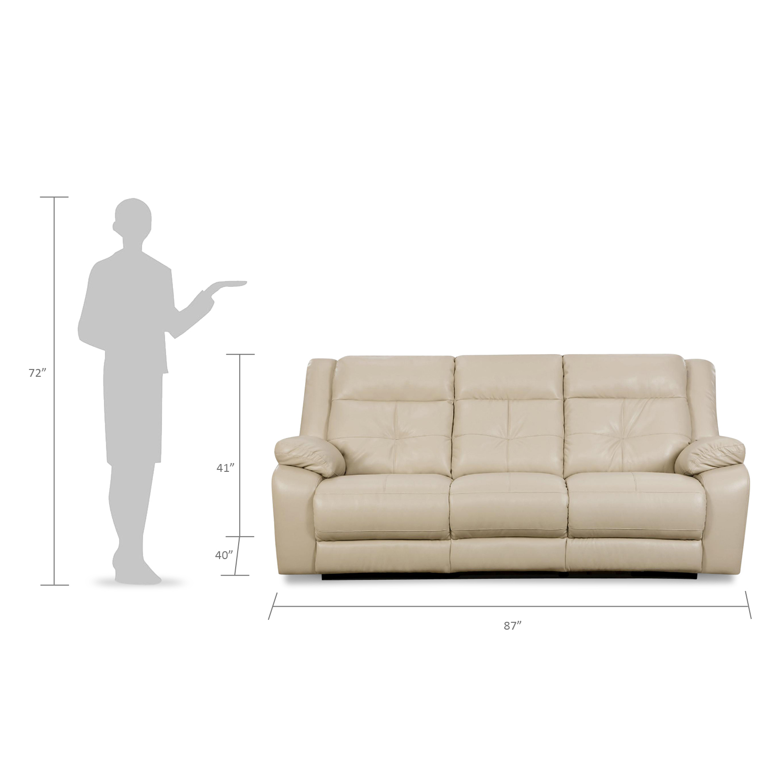 simmons beautyrest reclining sofa rubber feet upholstery miracle motion - cream