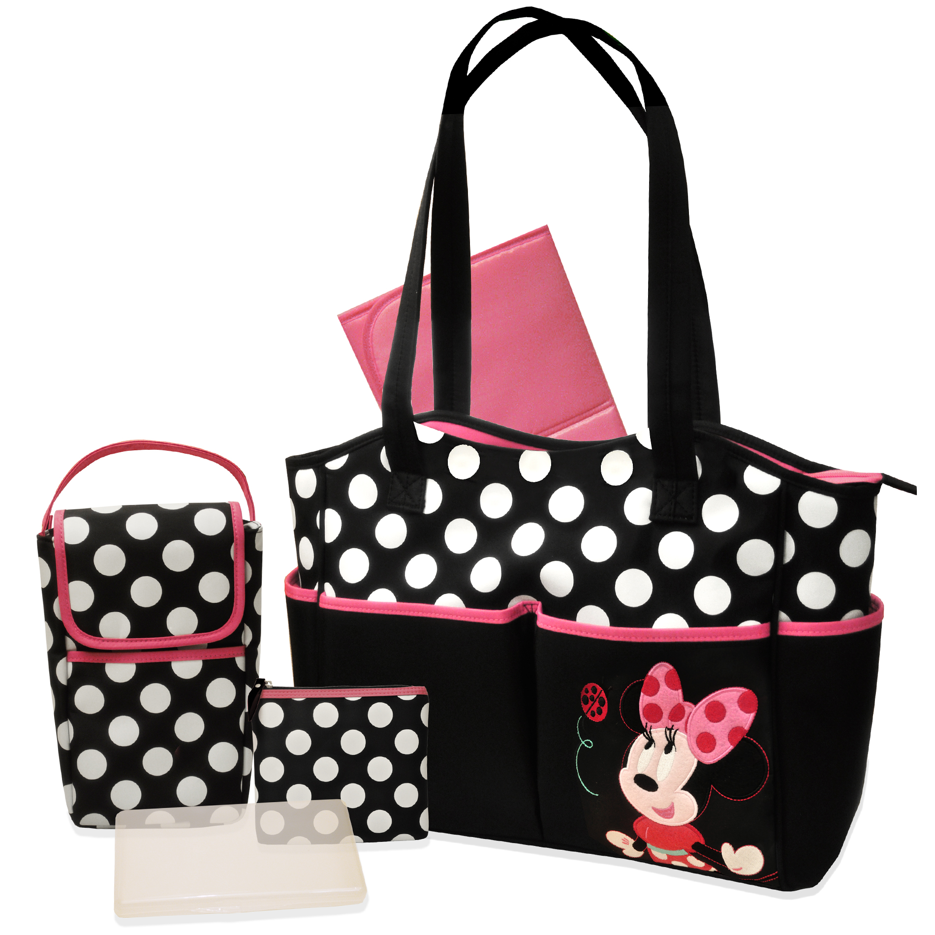 Disney Minnie Mouse 5 In 1 Diaper Bag Set