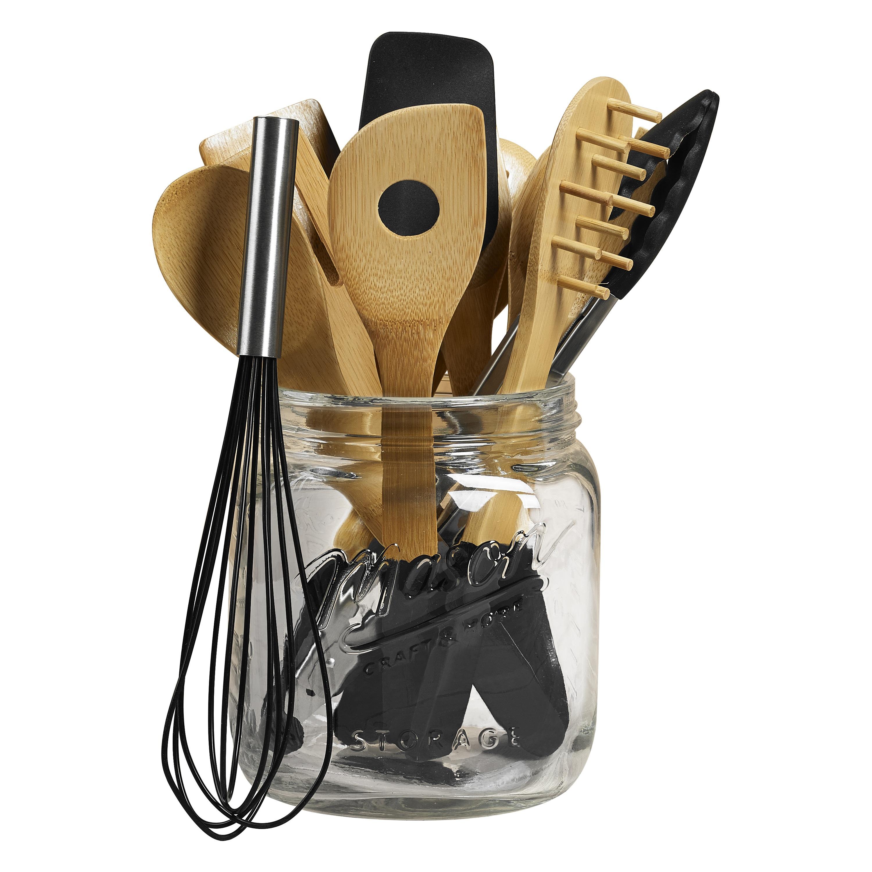 Tabletops Unlimited Mason Jar Tub Of Tools Black