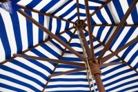 DestinationGear Euro 9 ft Patio Umbrella Blue and White Stripe