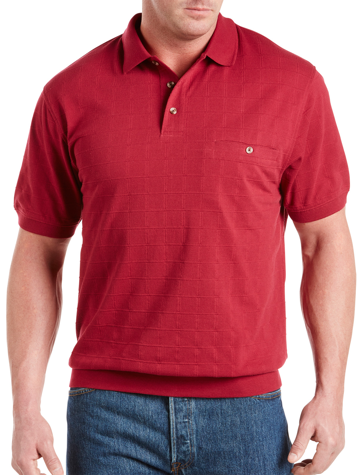 Harbor Bay Men' Big And Tall Textured Banded-bottom Shirt