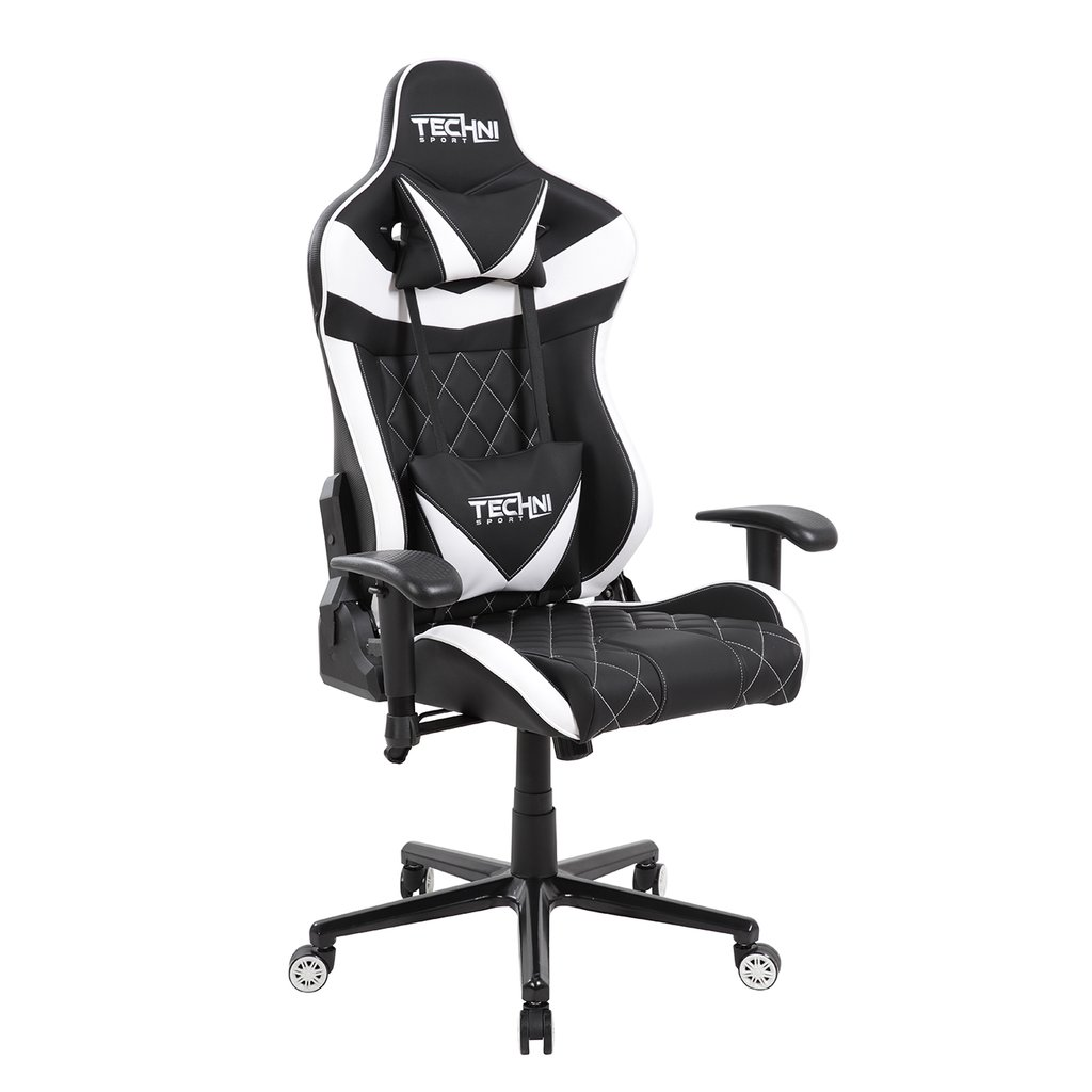 White Gaming Chair Techni Sport Ergonomic High Back Racer Style Video Gaming