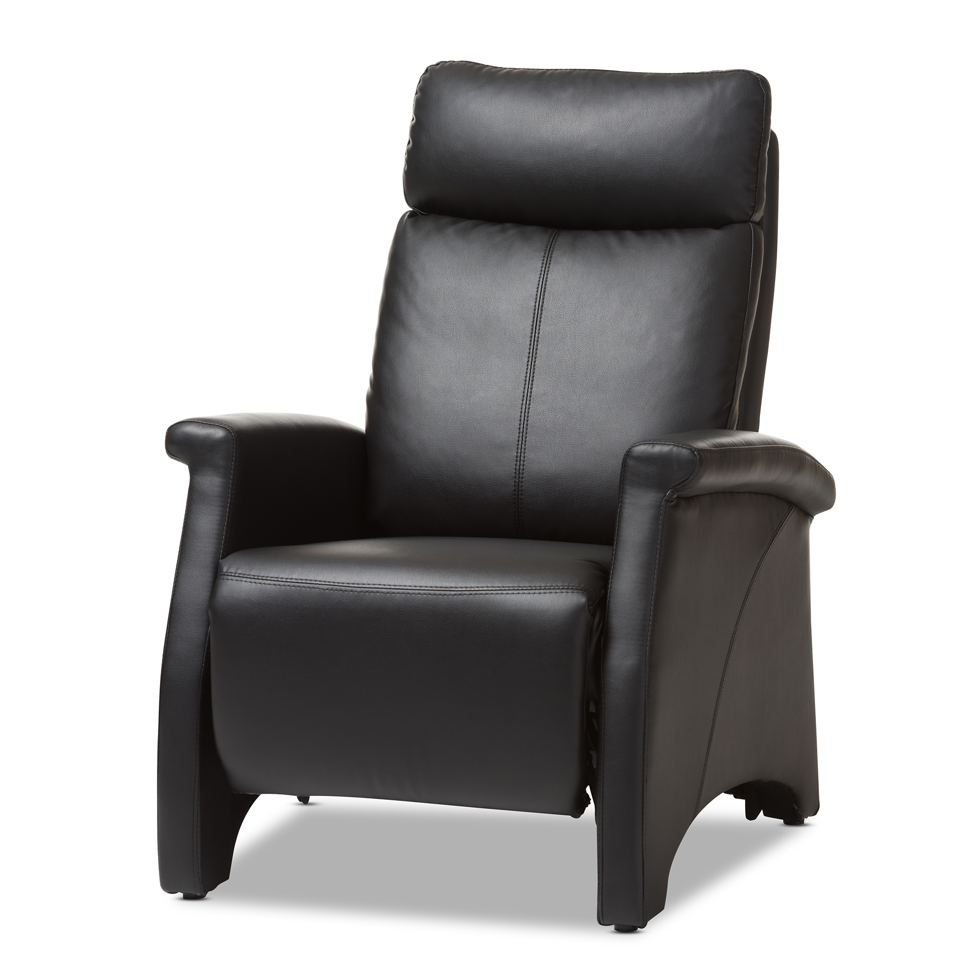 modern black leather recliner chair wire dining baxton studio sequim club