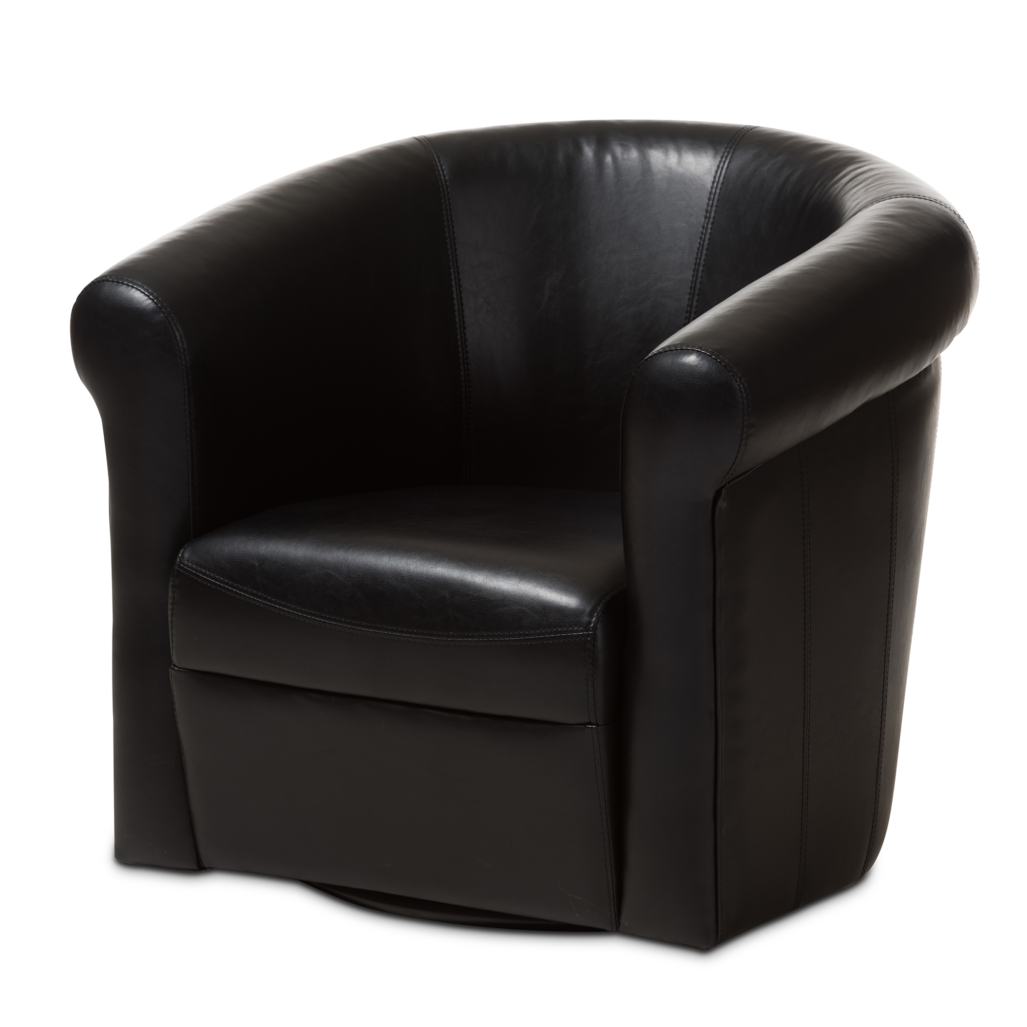 black barrel chair bedroom egg baxton studio julian faux leather club with