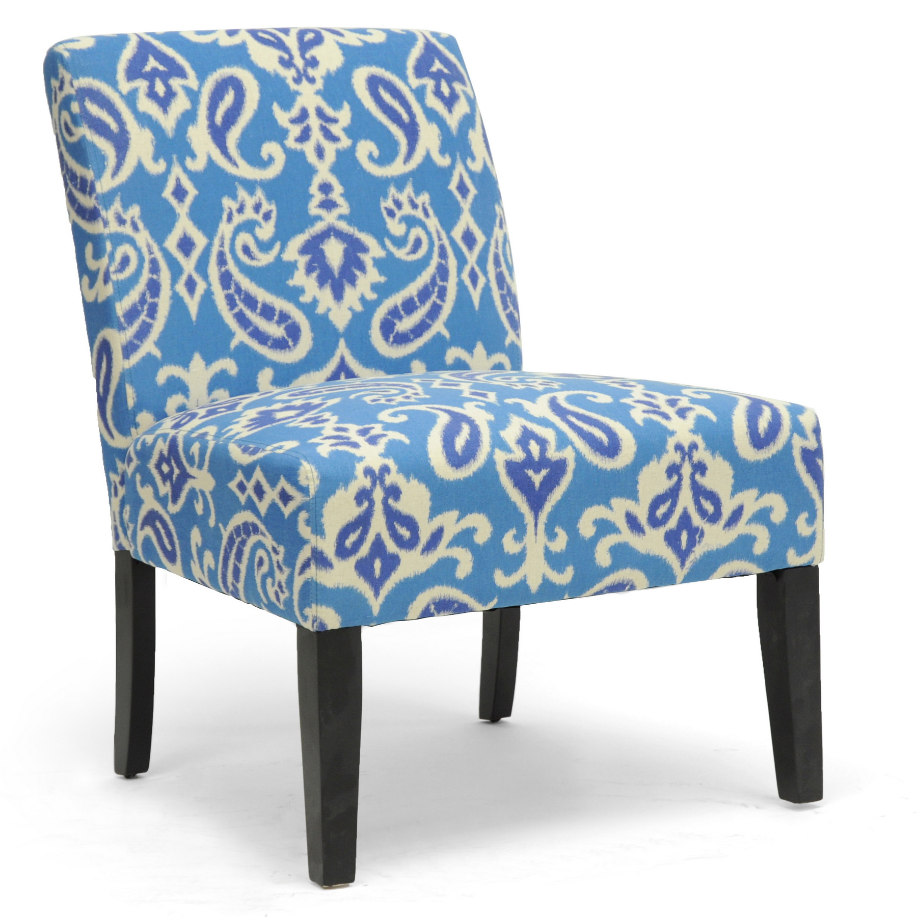 Blue Slipper Chair Baxton Studio Phaedra Paisley Ikat Modern Slipper Chair