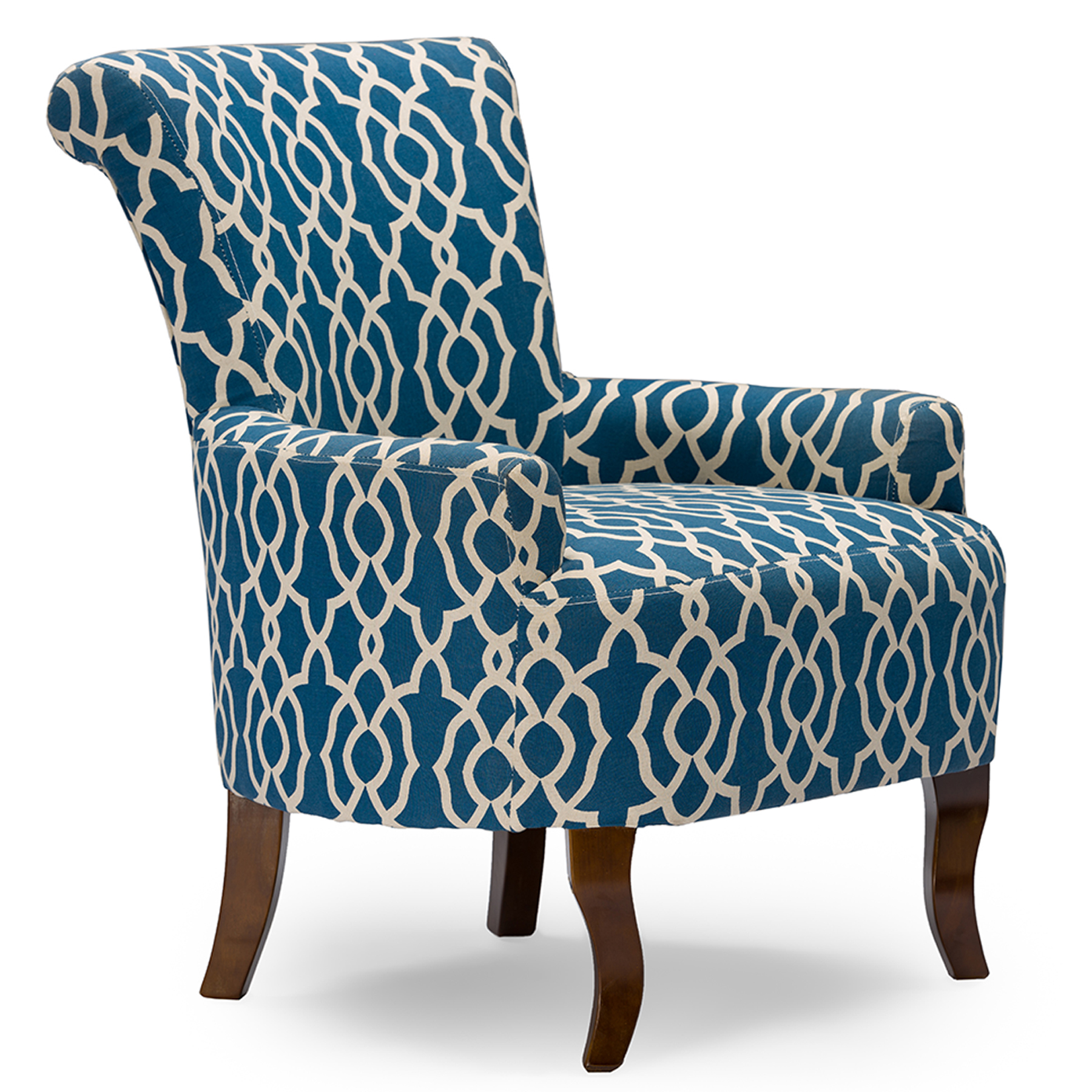 Patterned Chairs Baxton Studio Dixie Contemporary Fabric Armchair Navy