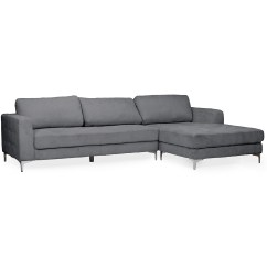 Modern Microfiber Grey Sectional Sofa Best Cover For Leather Baxton Studio Agnew Contemporary Right