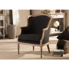 Blue And White Striped Accent Chair Office Not On Wheels Baxton Studio Charlemagne Traditional French Black