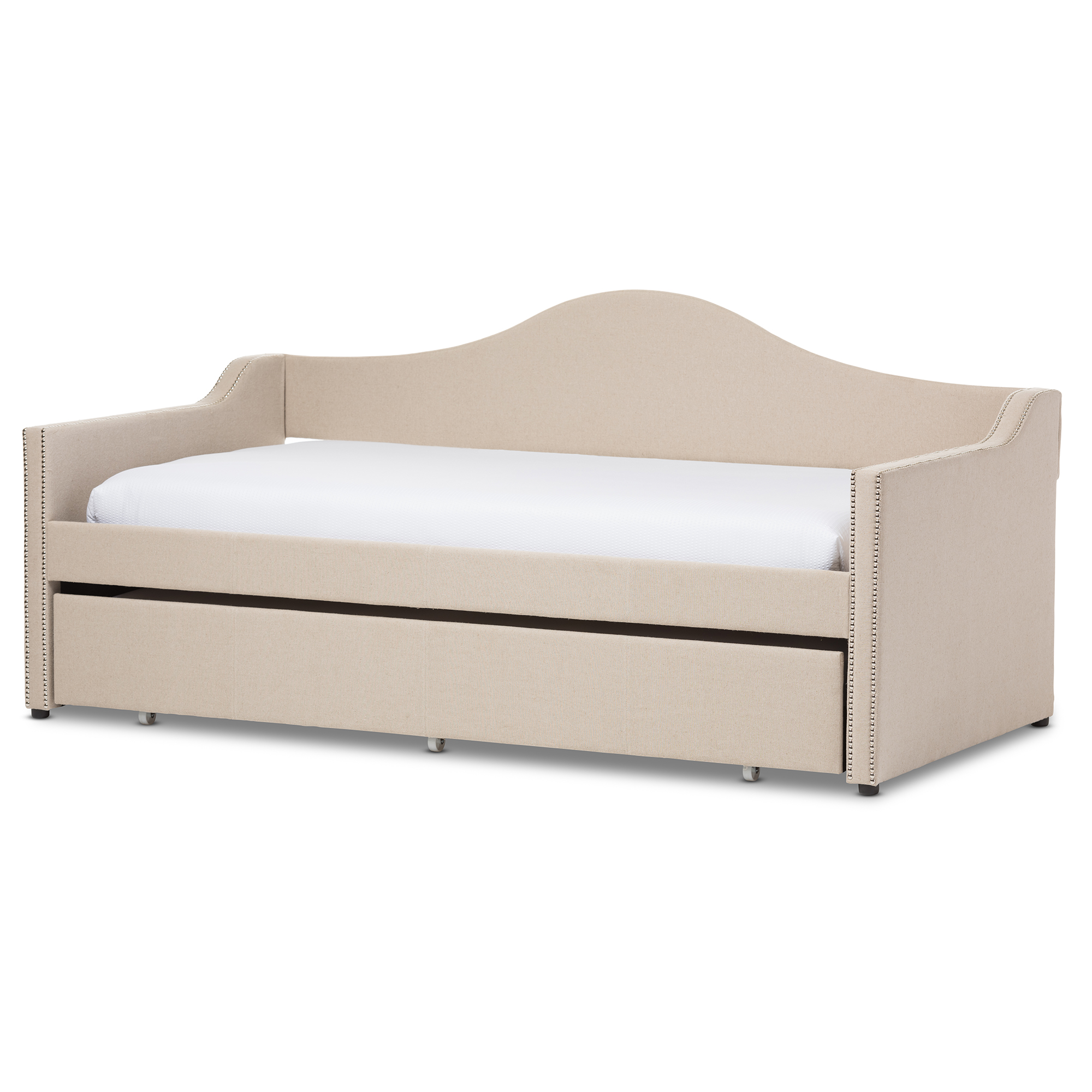 modern sofa with trundle learher sofas baxton studio prime and contemporary beige linen