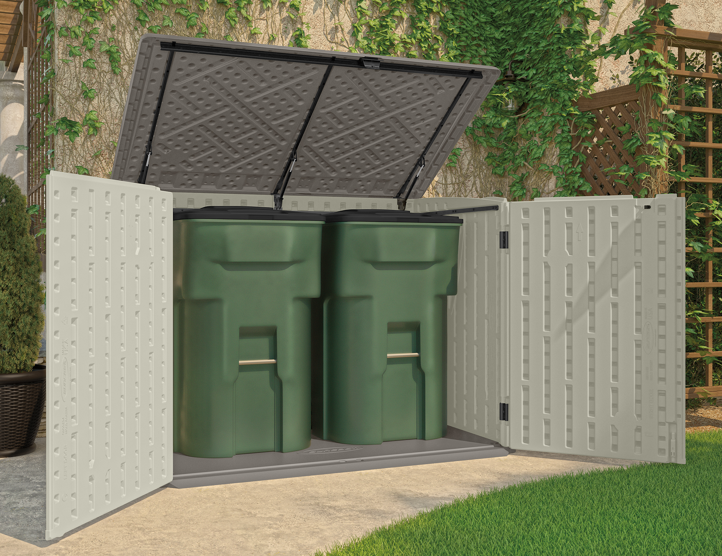 Outdoor Garbage Can Storage Shed