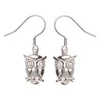 Sterling Silver Owl Drop Earrings - Jewelry - Earrings