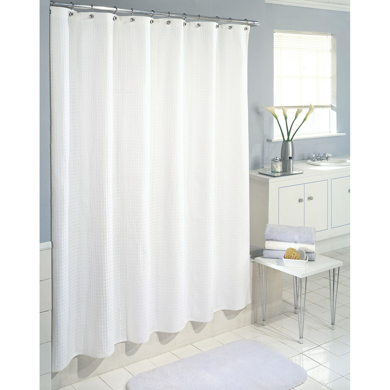 Colormate Waffle Wave Fabric Shower Curtain White
