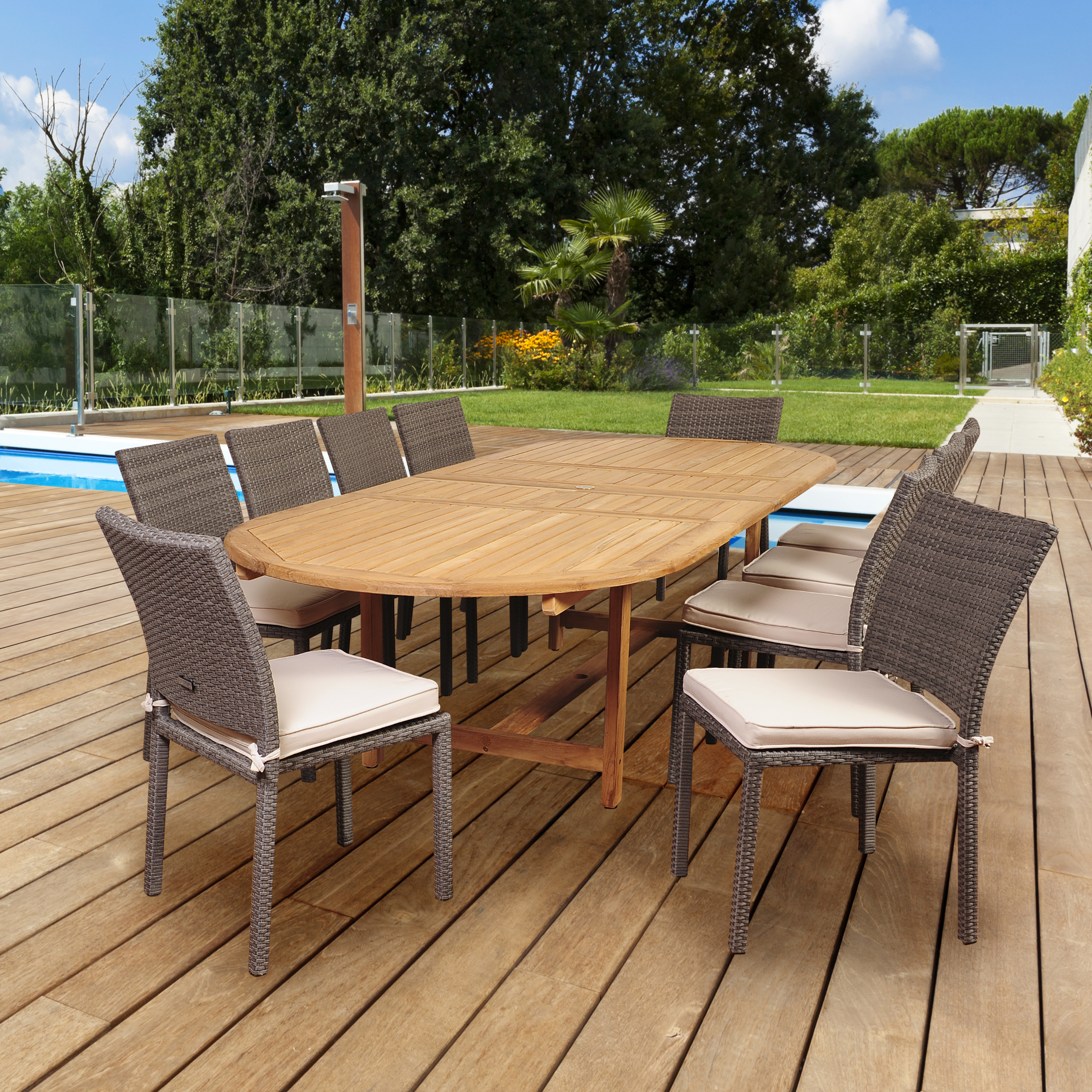 Stewart 11pc Teak Wicker Double Extendable Oval