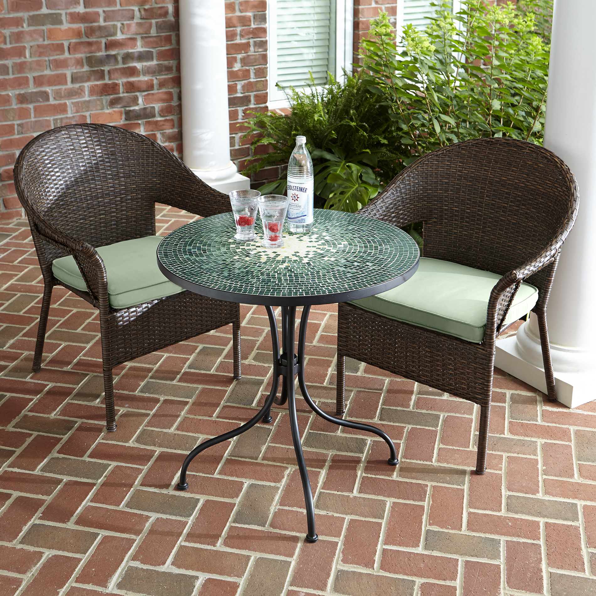 Jaclyn Smith Reece 2pk Brown Wicker Stack Chair With Green
