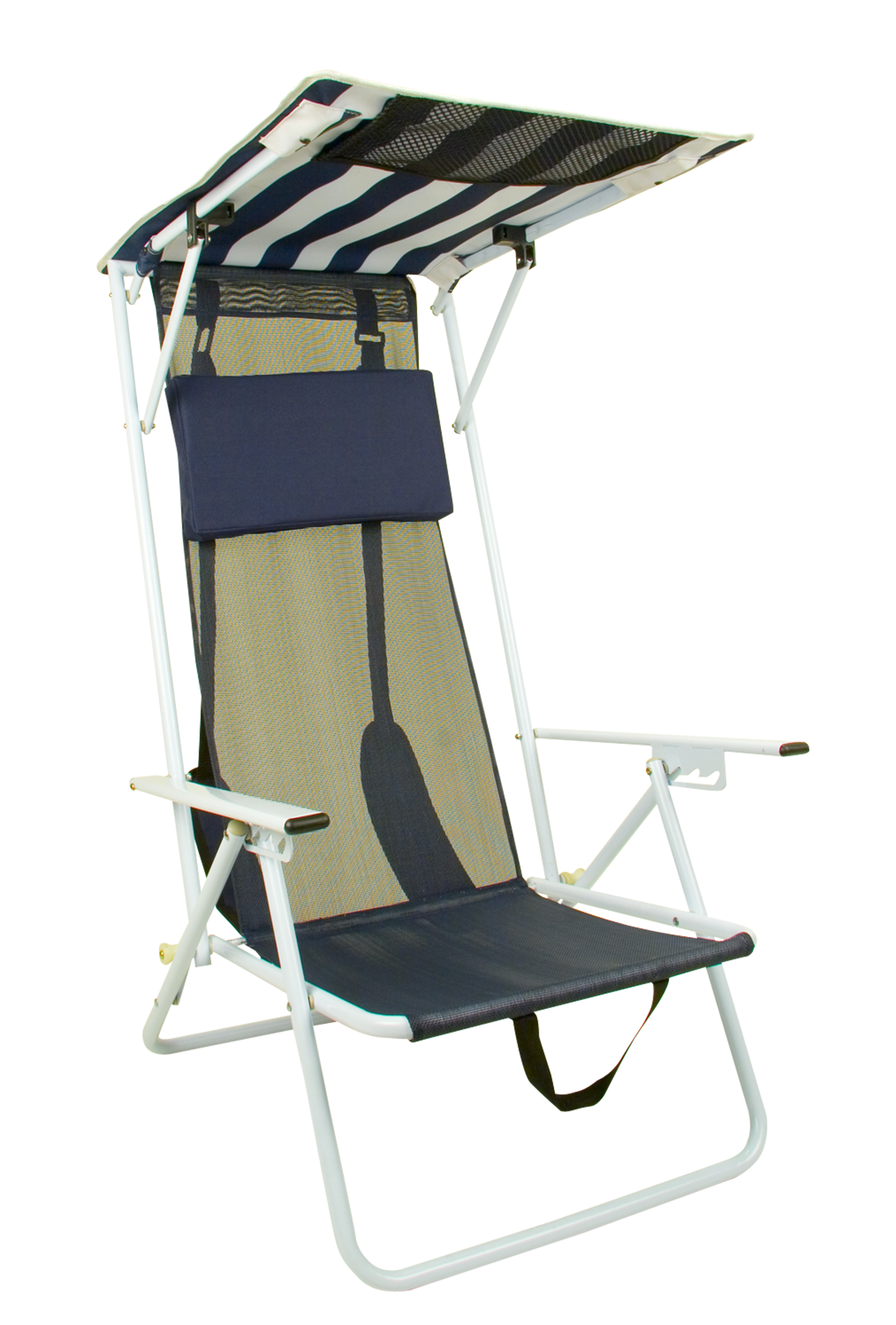 Fold Up Chair With Canopy Quik Shade Folding Beach Chair Striped Navy Blue