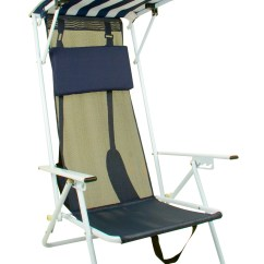 Beach Chairs With Shade One And A Half Chair Sleeper Quik Folding Striped Navy Blue