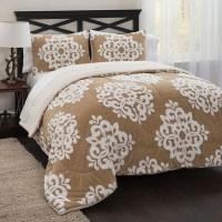 Damask Jacquard Sherpa Comforter Set