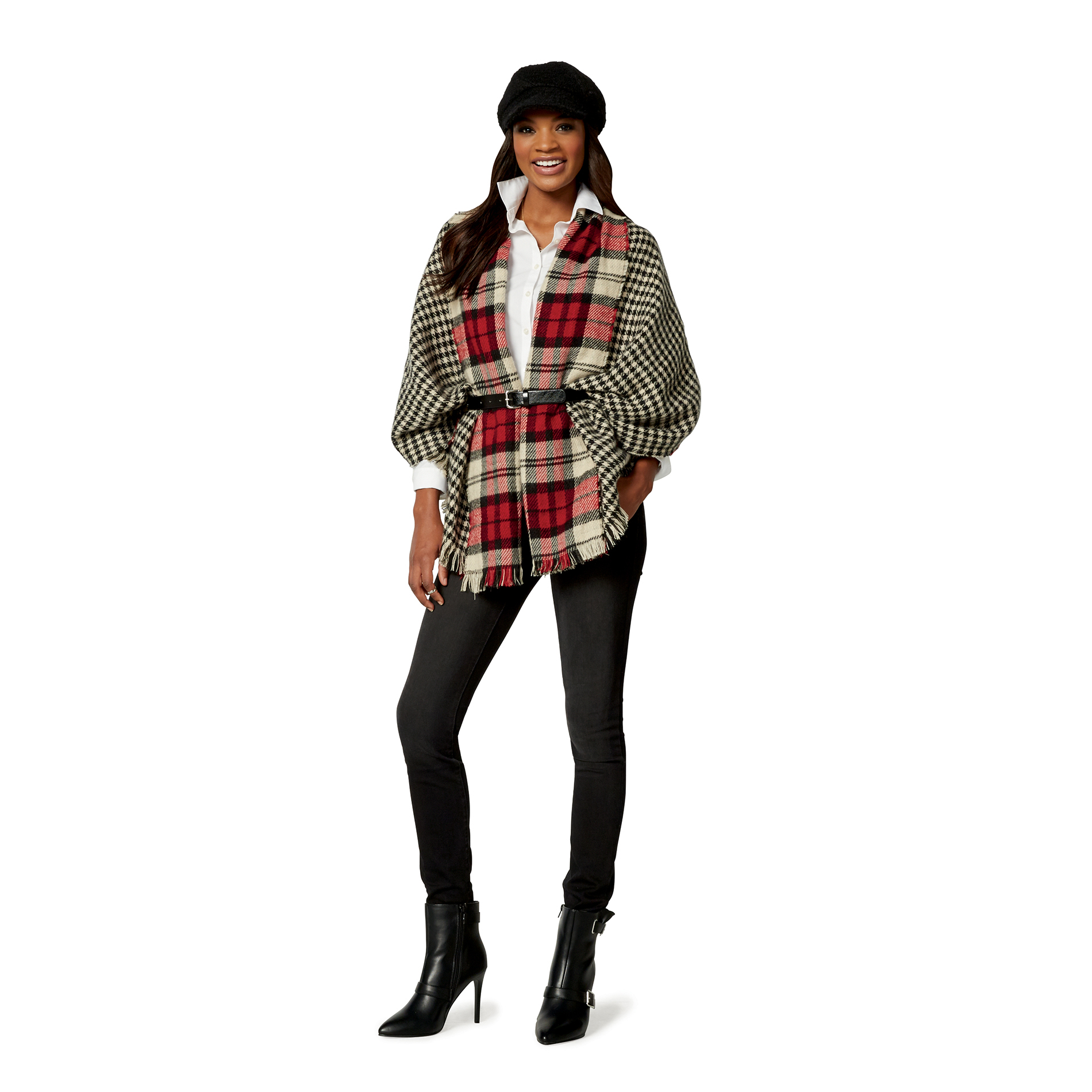 Covington Womens Blanket Wrap PlaidHoundstooth