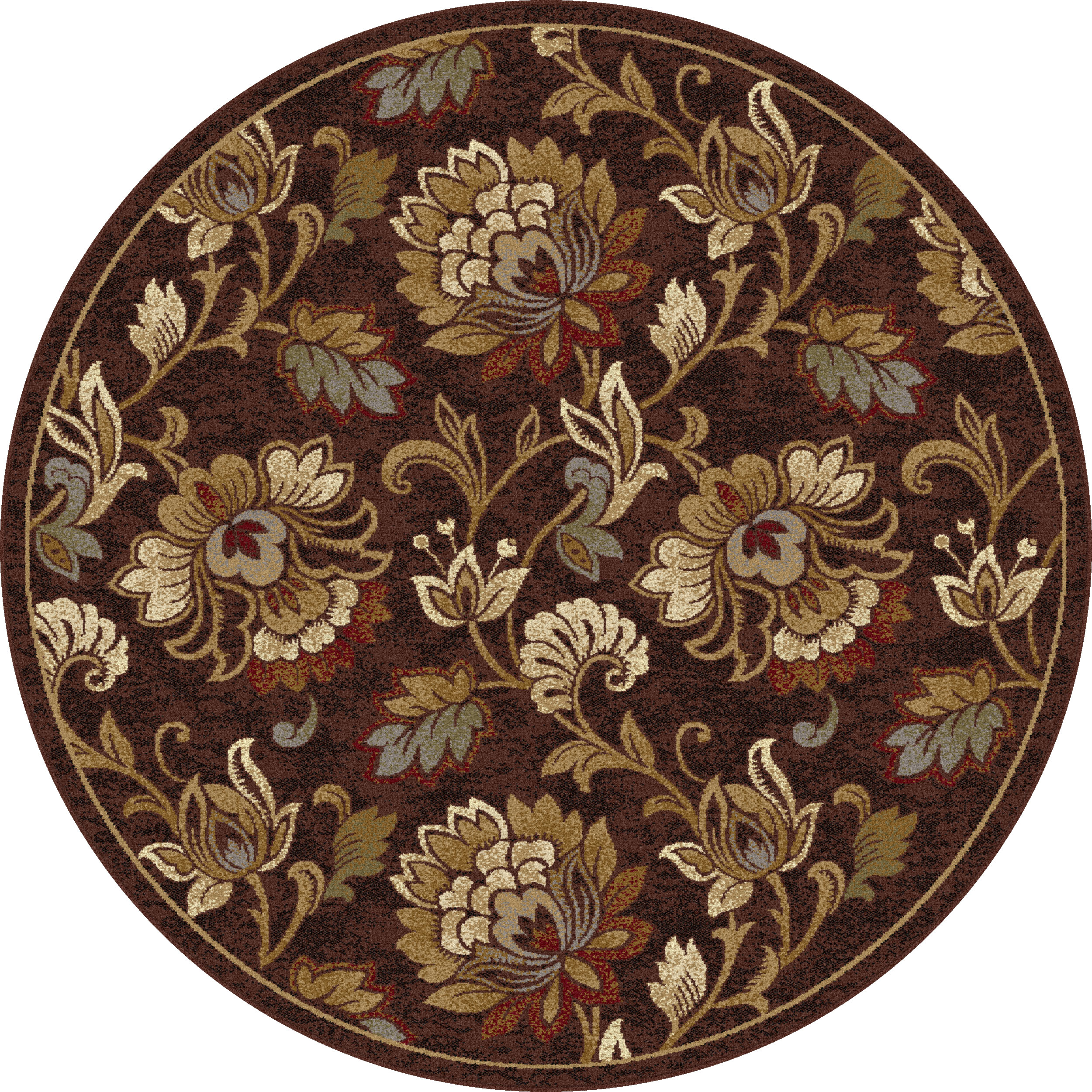 5 FT Round Area Rugs Brown