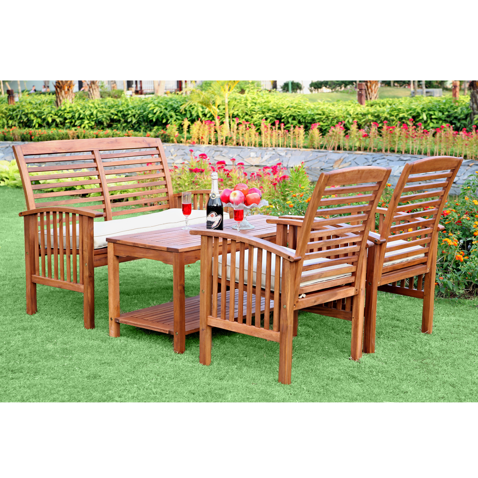 Walker Edison 4-piece Acacia Wood Conversation Set With
