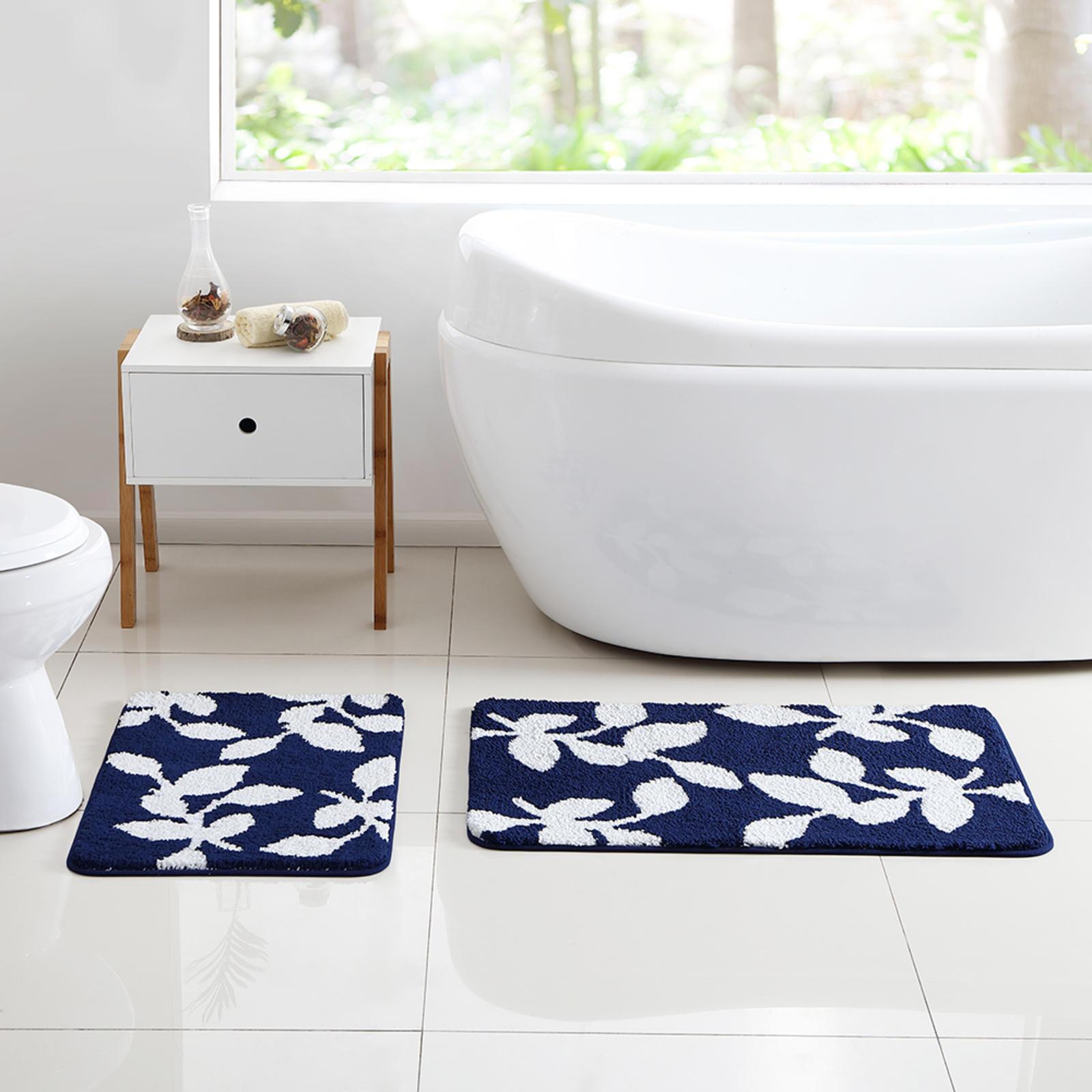 Essential Home 2Pc Leaf Bathroom Rug Set  Navy